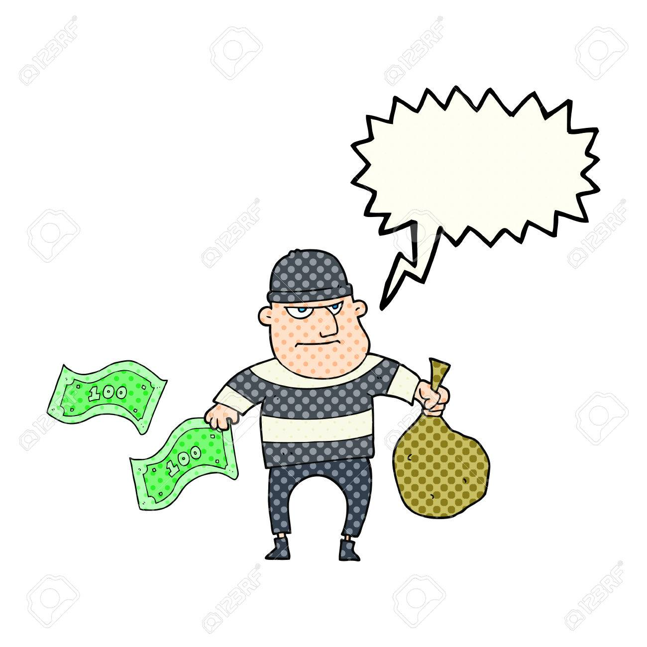 freehand drawn comic book speech bubble cartoon bank robber royalty rh 123rf com