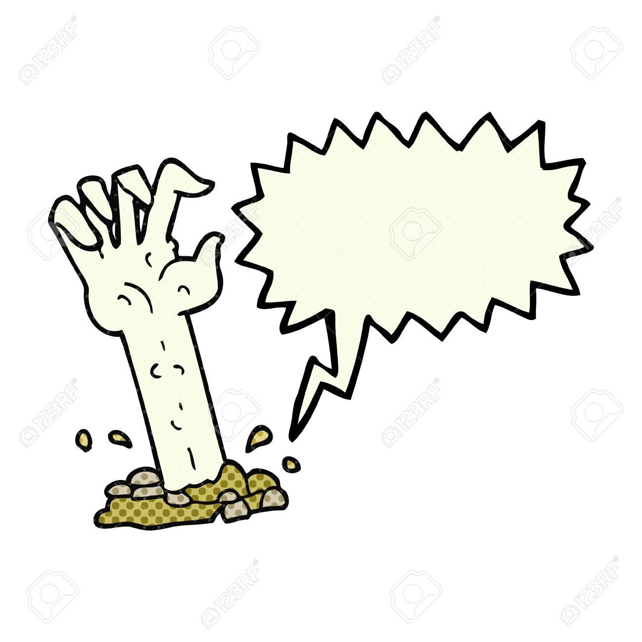 Freihandig Gezeichnet Comic Handsprechblase Cartoon Zombie Vom Boden