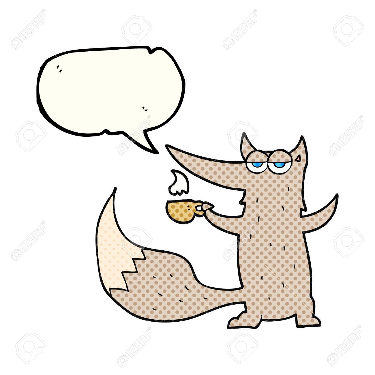 Freihändig Gezeichnet Comic Sprechblase Cartoon Wolf Mit Kaffeetasse