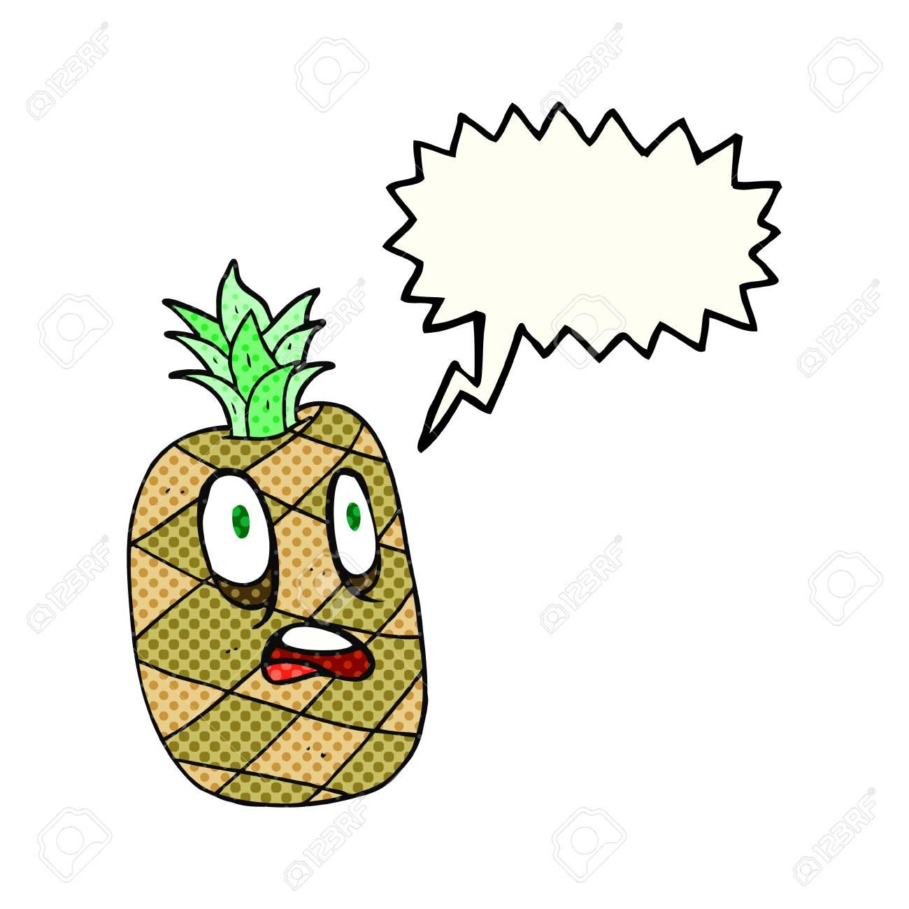 Freehand Dessinée Bande Dessinée Ananas Dessin Animé Discours Bulle