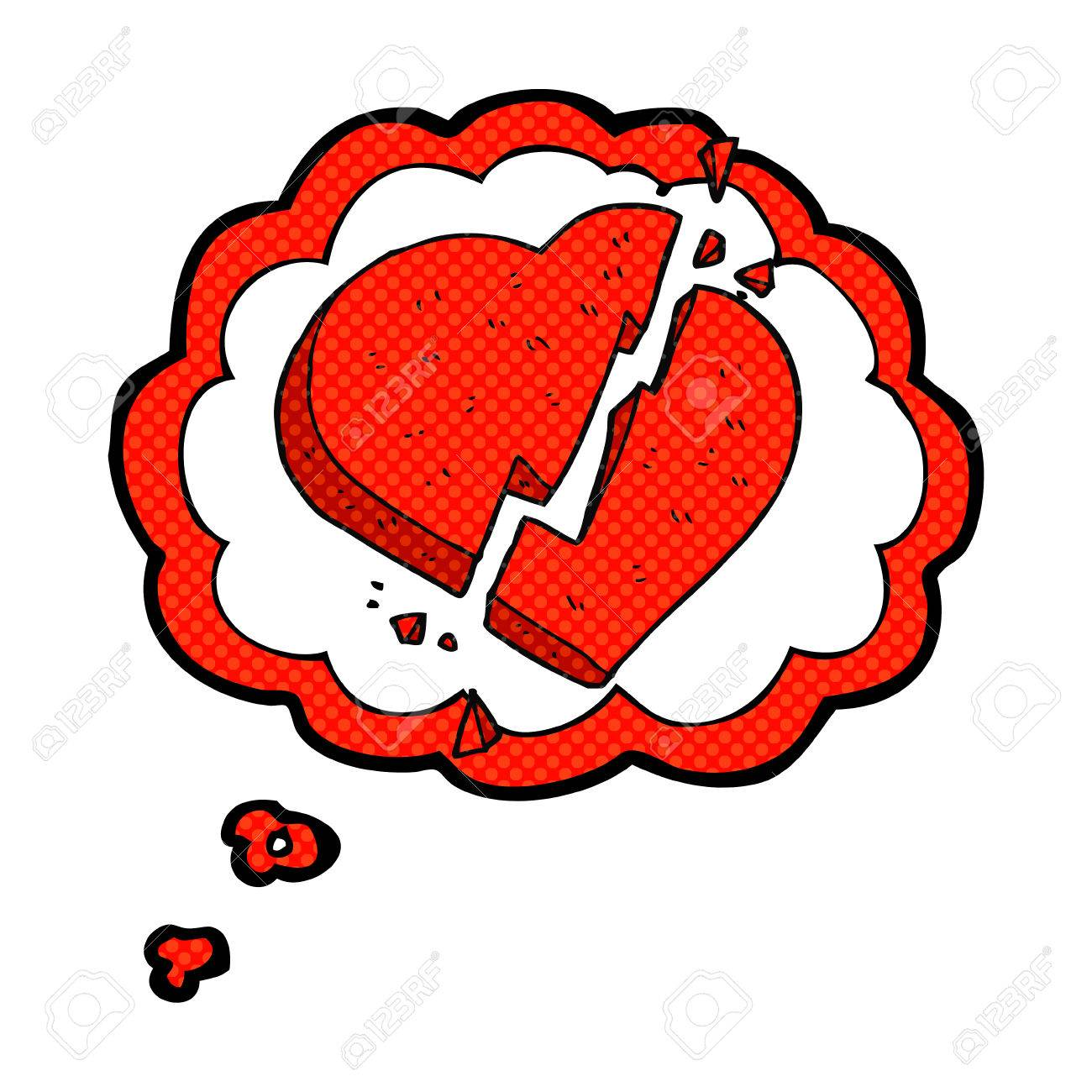 Freehand Drawn Thought Bubble Cartoon Broken Heart Symbol Royalty