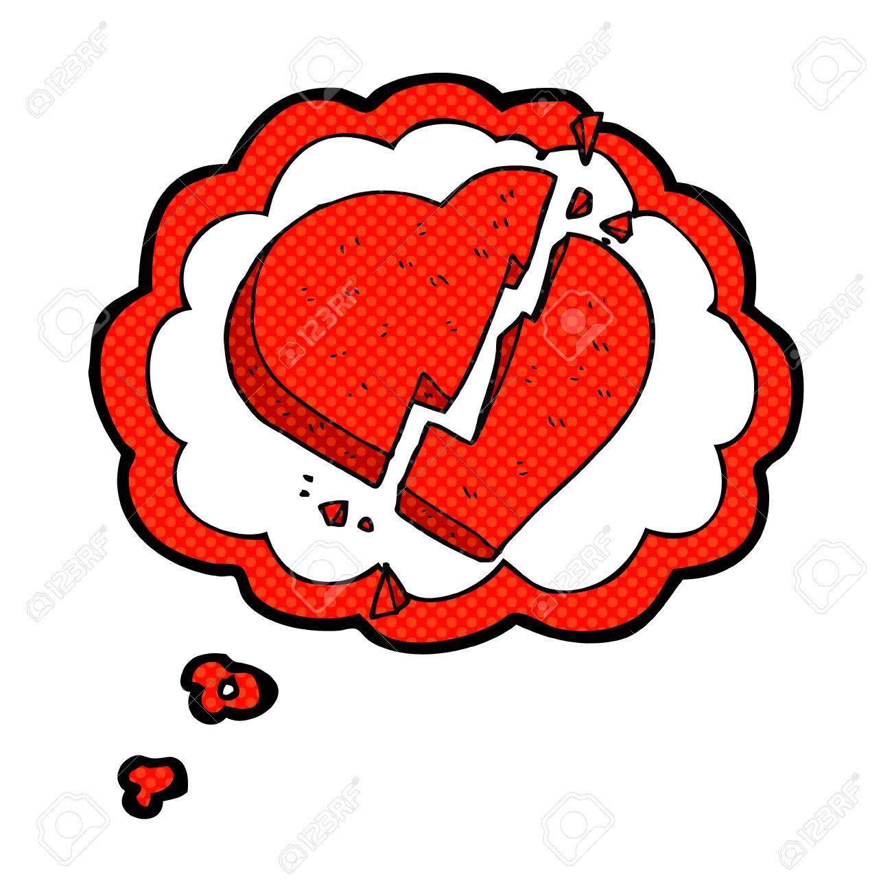 Freehand Pensée Dessinée Bulle Dessin Animé Symbole De Coeur Brisé