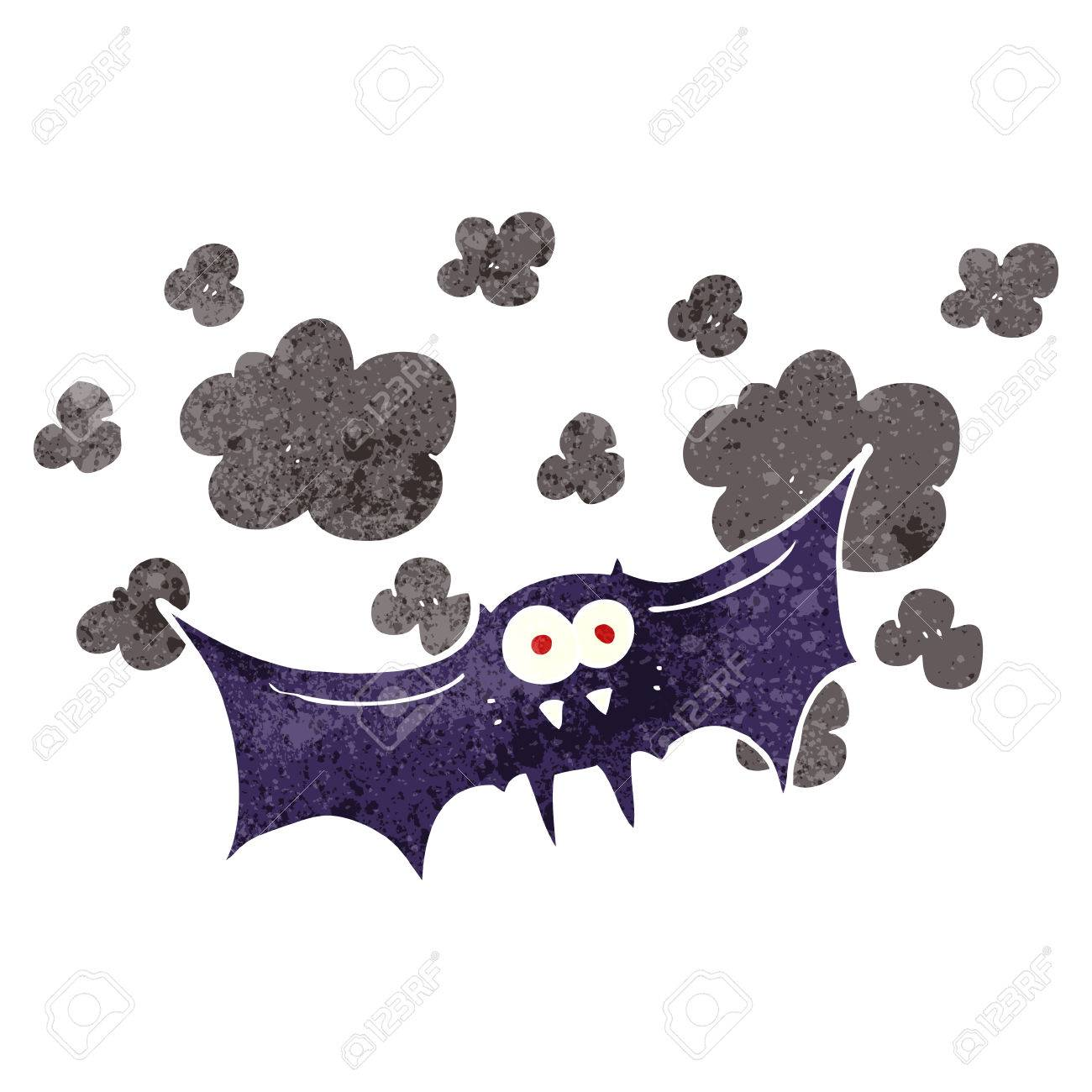 Vettoriale a mano libera retrò pipistrello vampiro cartone