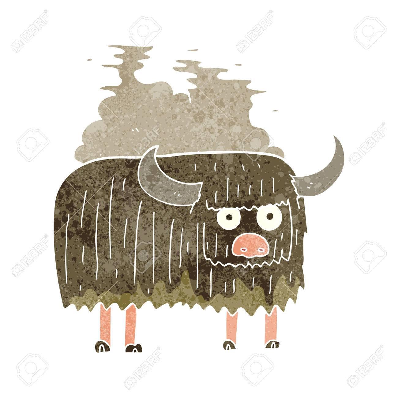 freehand retro cartoon smelly cow - 53703149