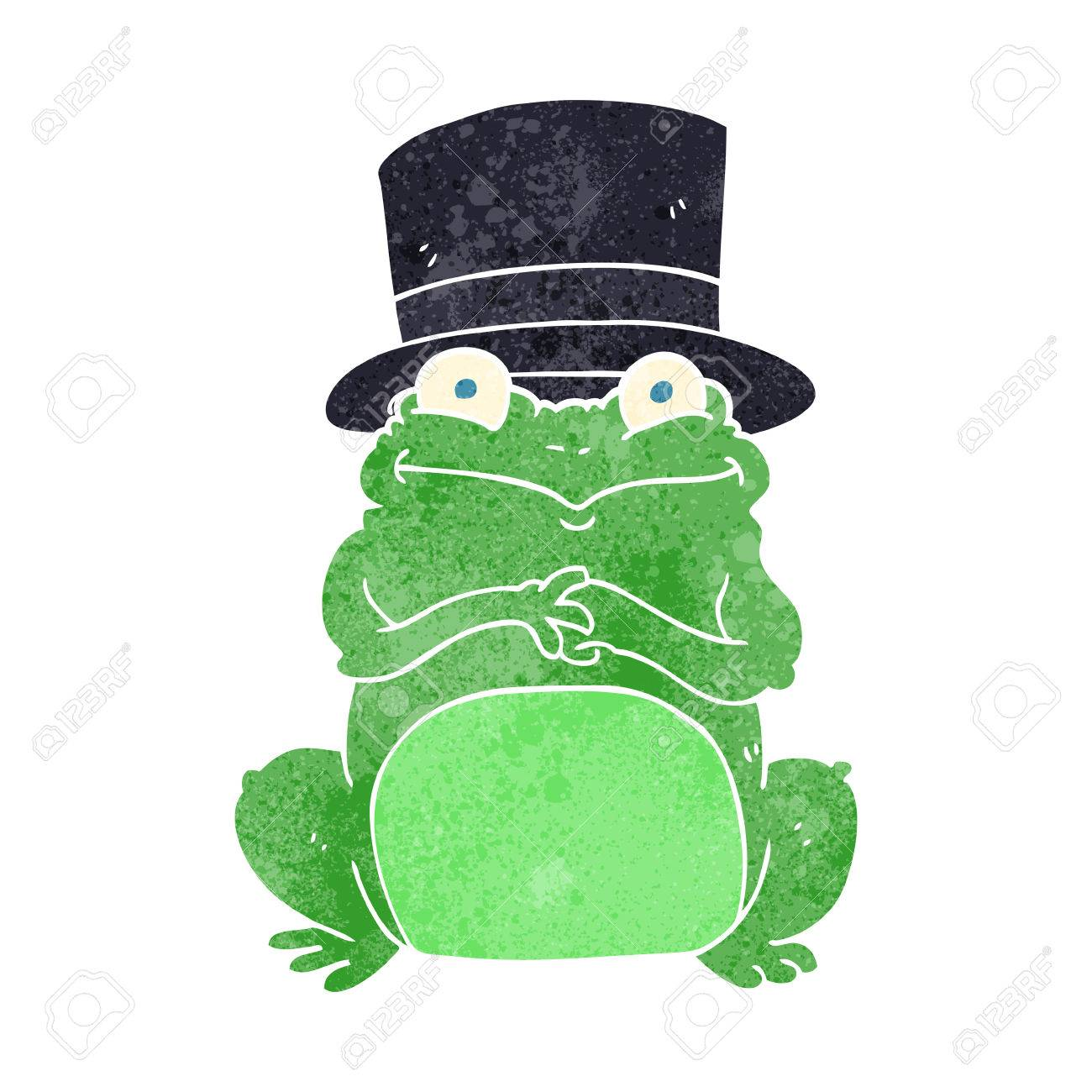 Vettoriale a mano libera rana cartone animato retrò in cappello