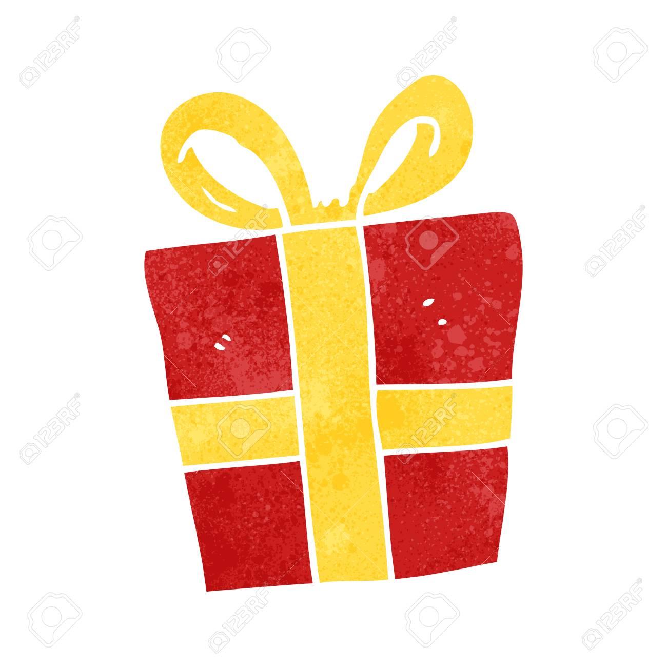 Vettoriale regalo di natale a mano libera retrò dei cartoni