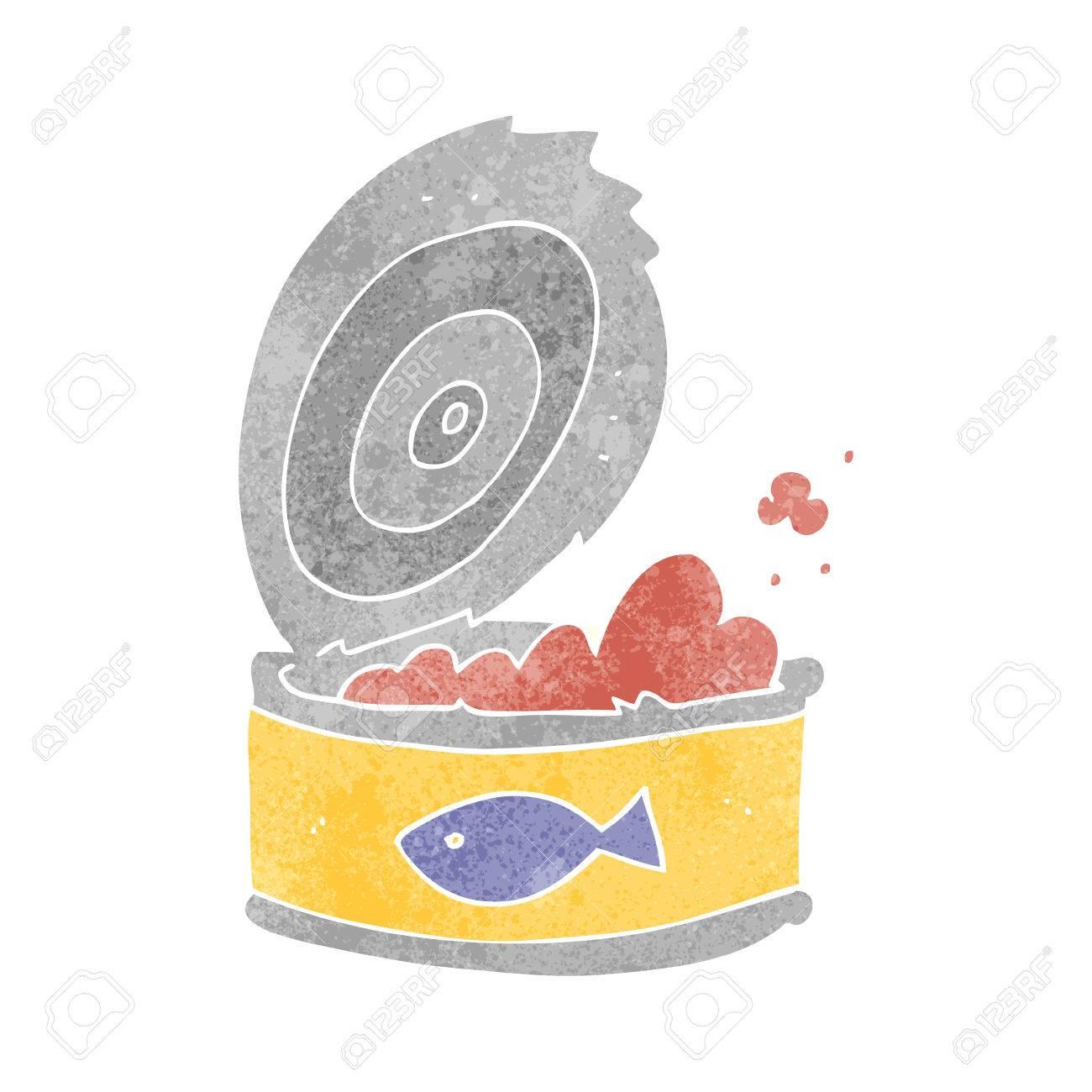 フリーハンドのレトロ漫画のツナ缶しますのイラスト素材ベクタ