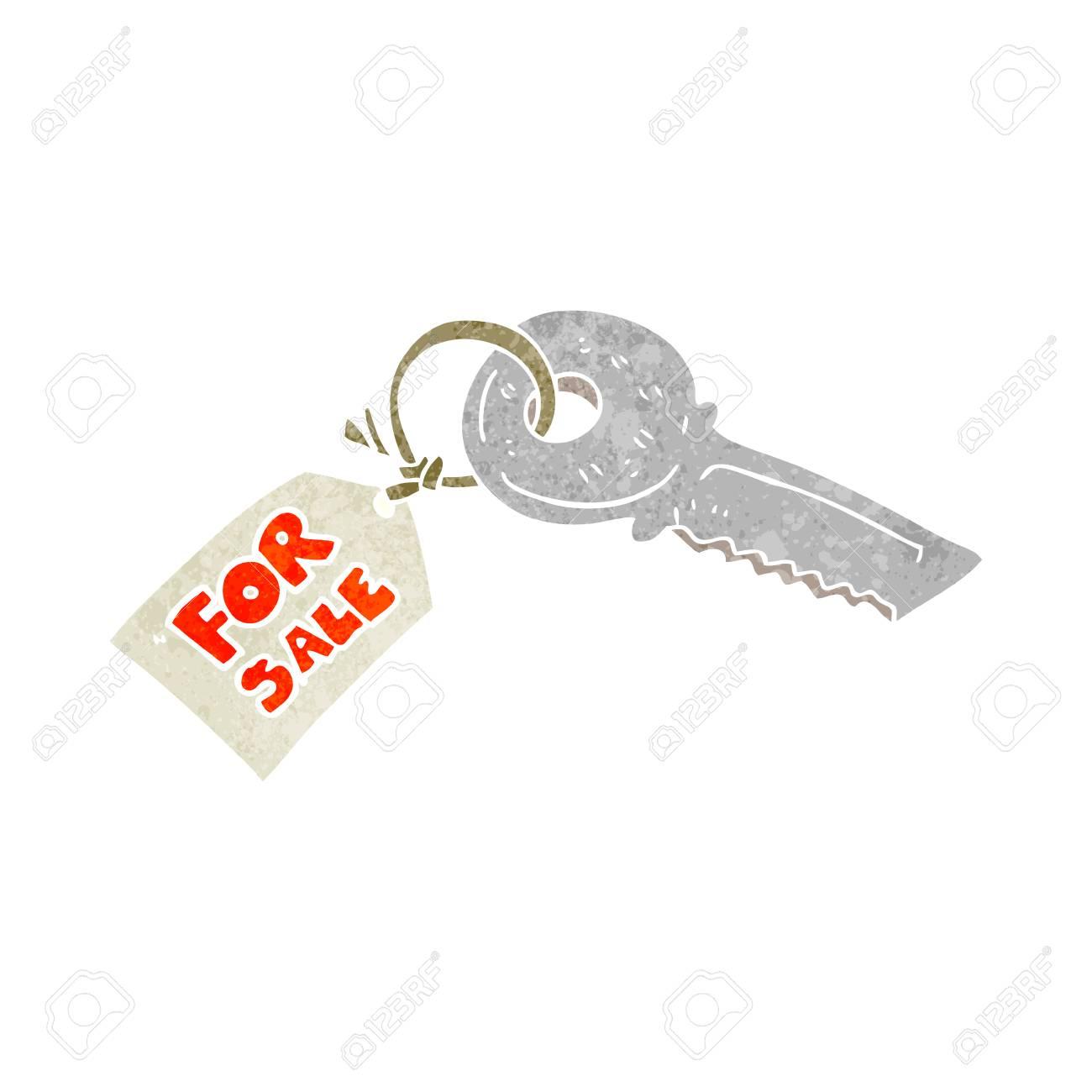 Banque dimages freehand clé de la maison de dessin animé rétro avec vente tag