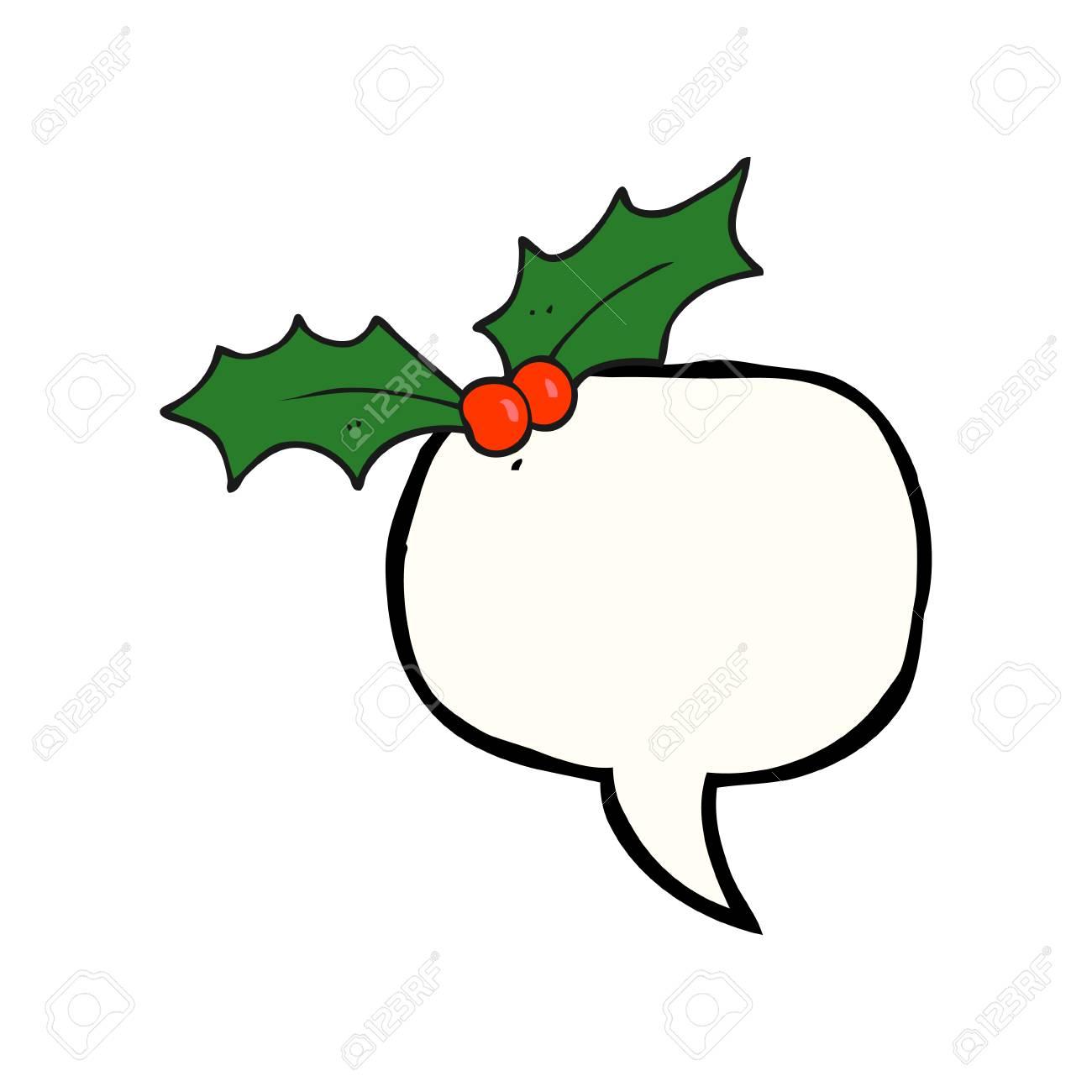 Christmas Holly Cartoon.Freehand Drawn Speech Bubble Cartoon Christmas Holly
