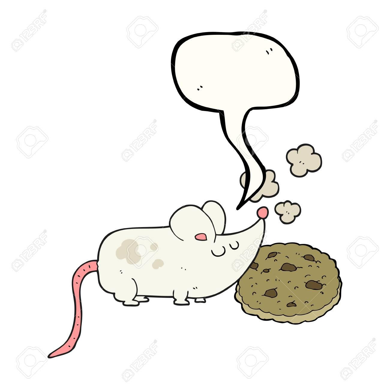 かわいいフリーハンド描画音声バブル漫画のマウスとクッキー