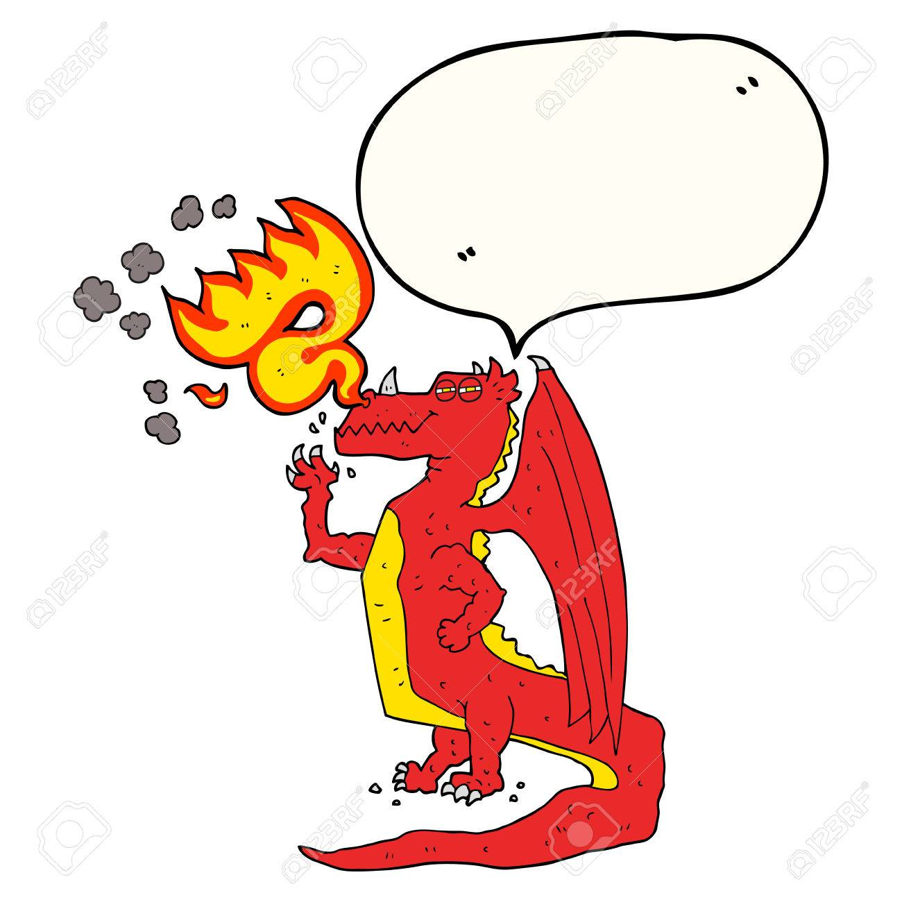Freihändig Gezeichnet Sprechblase Cartoon Glücklich Drachen Feuer ...
