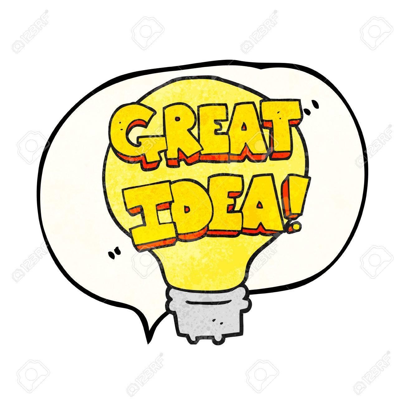 freehand speech bubble textured cartoon great idea light bulb rh 123rf com Idea Light Bulb No Background Person Light Bulb Idea