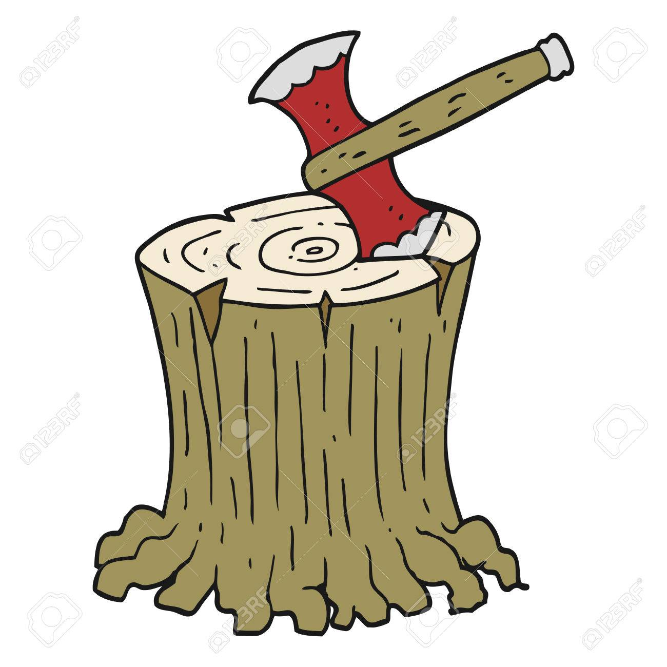 Freehand Drawn Cartoon Axe In Tree Stump Royalty Free Cliparts Vectors And Stock Illustration Image 53982459 Choose from 470000+ cartoon tree stump graphic resources and download in the form of png, eps, ai or psd. freehand drawn cartoon axe in tree stump