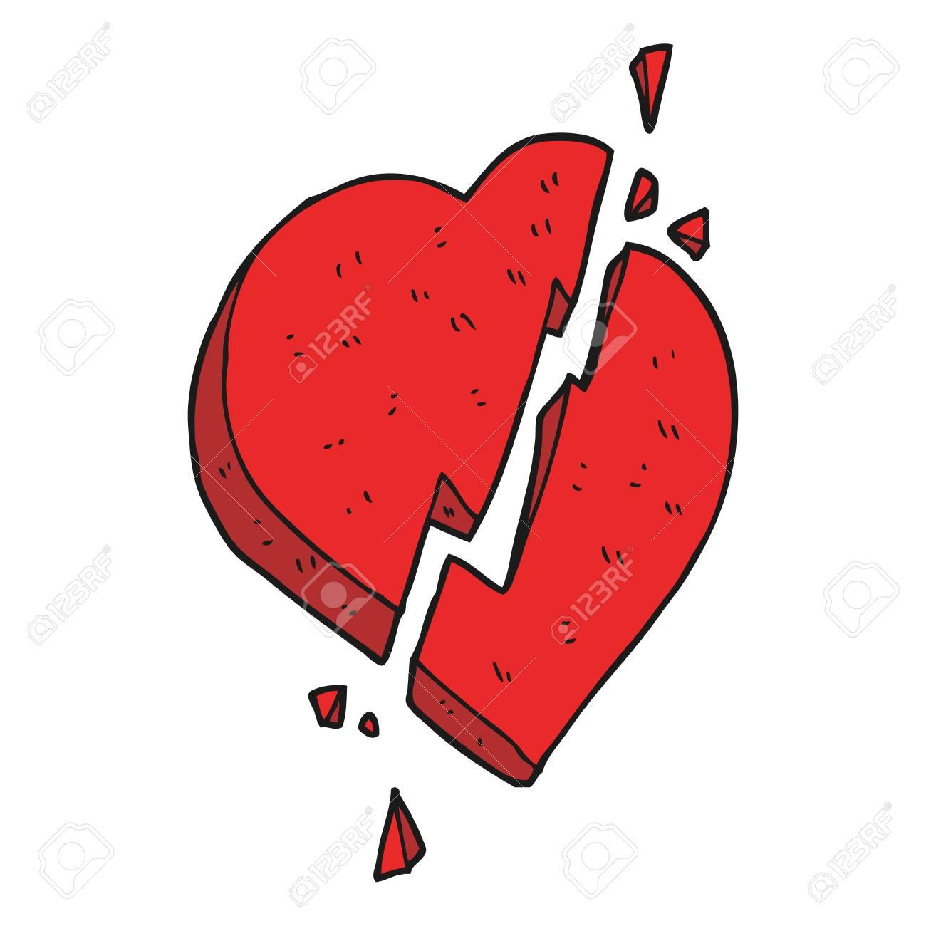 A Pulso Símbolo Del Corazón Roto Dibujo Animado Hecho Ilustraciones