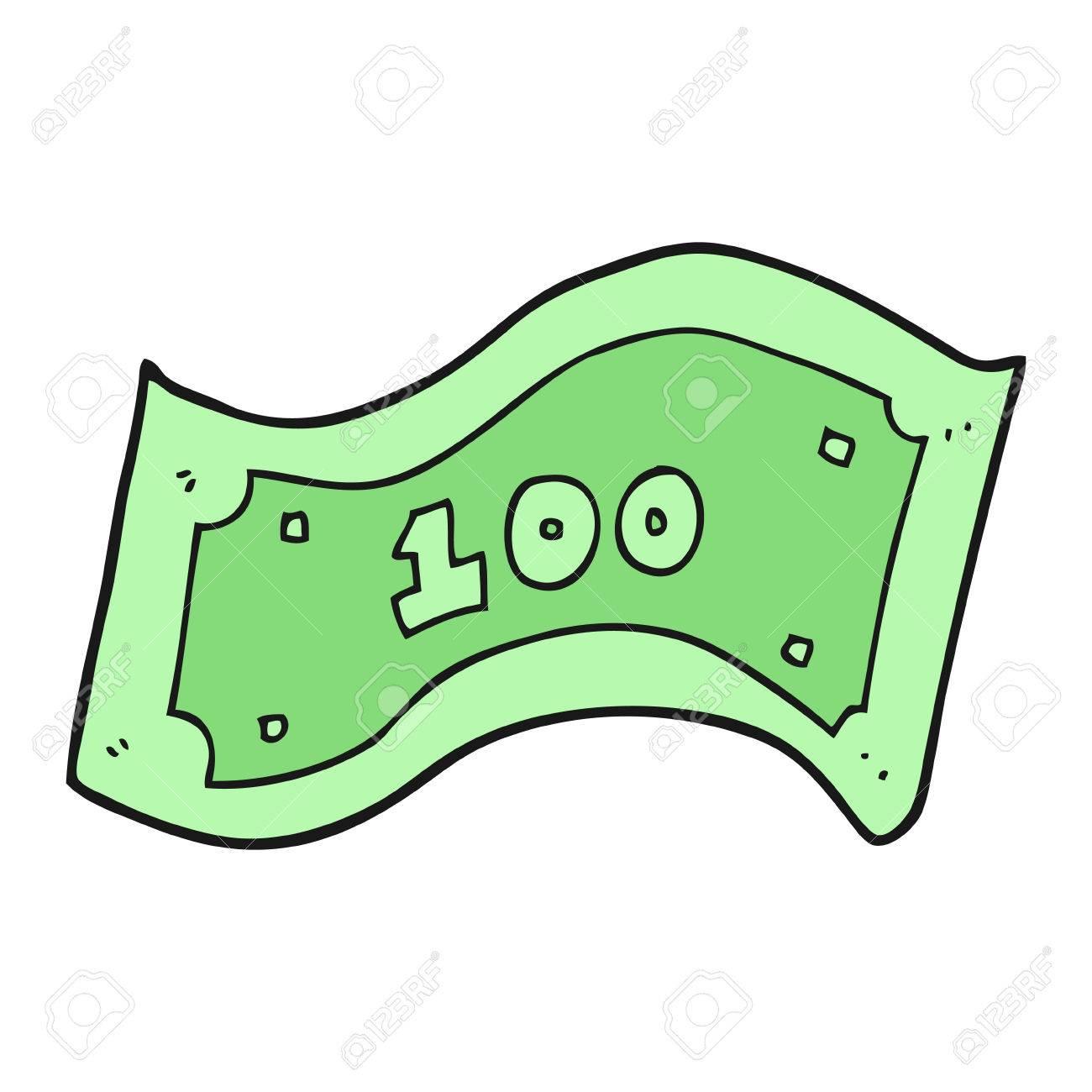 freehand drawn cartoon 100 dollar bill royalty free cliparts rh 123rf com one dollar bill vector 100 dollar bill vector