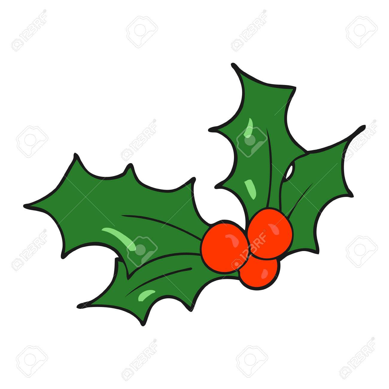 Christmas Holly Cartoon.Freehand Drawn Cartoon Christmas Holly