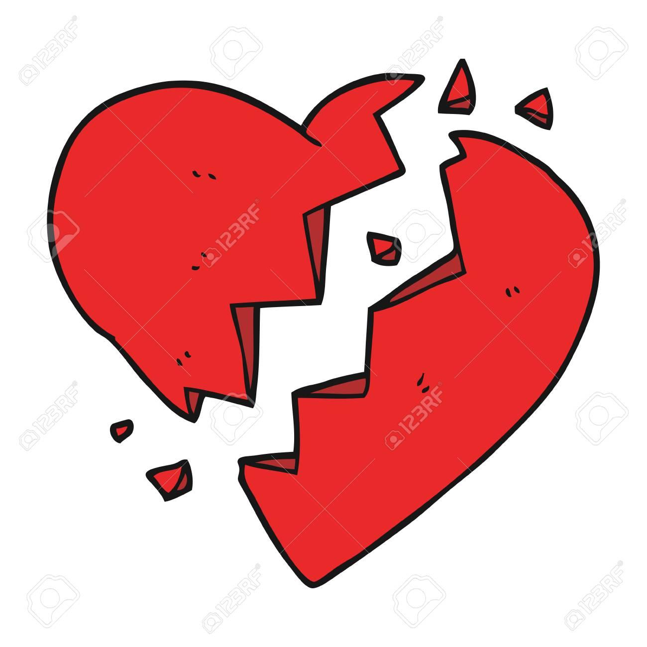 A Mano Alzada Corazón Roto Dibujo Animado Hecho Ilustraciones