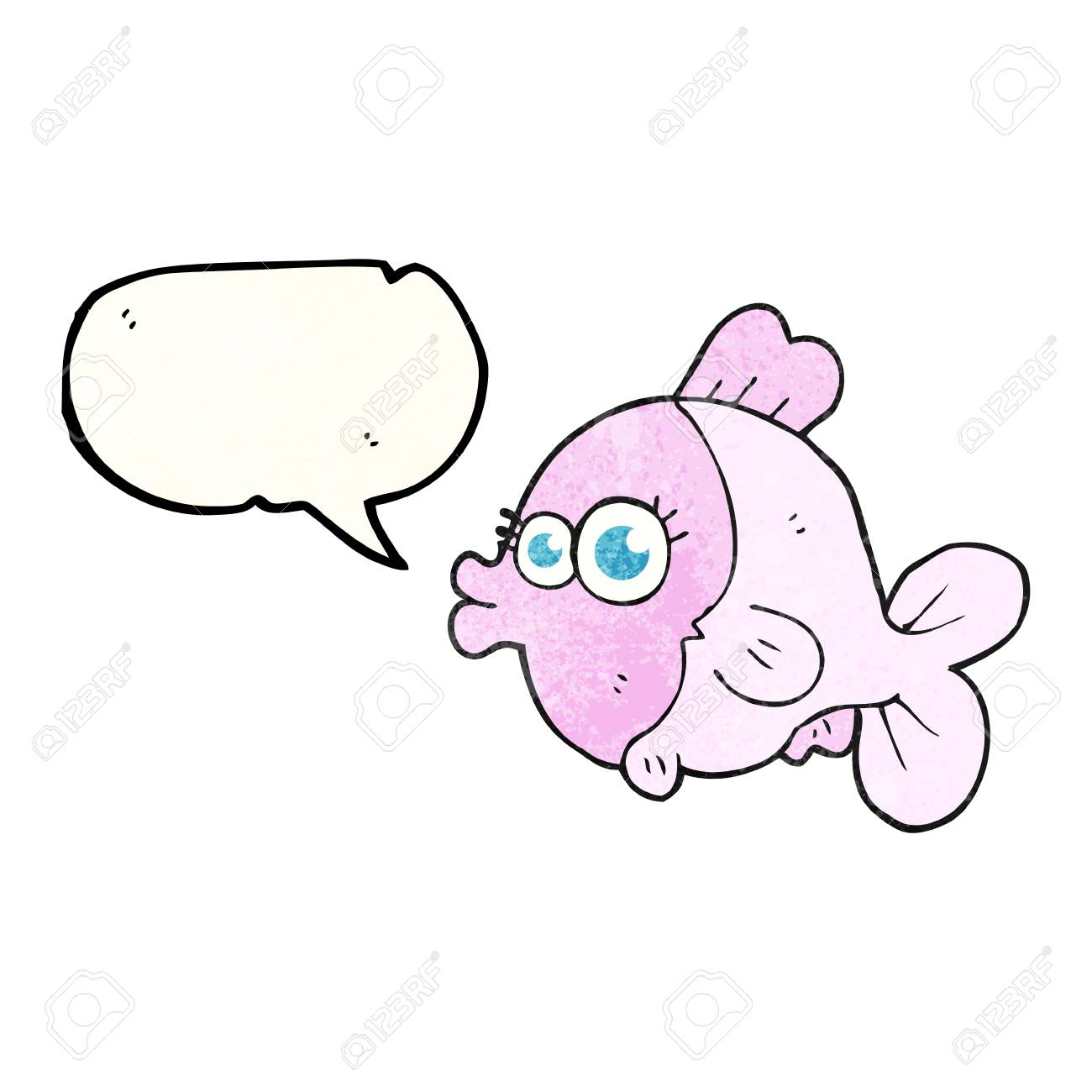 大きなかわいい目でフリーハンドの滑稽なスピーチ泡テクスチャ漫画の魚