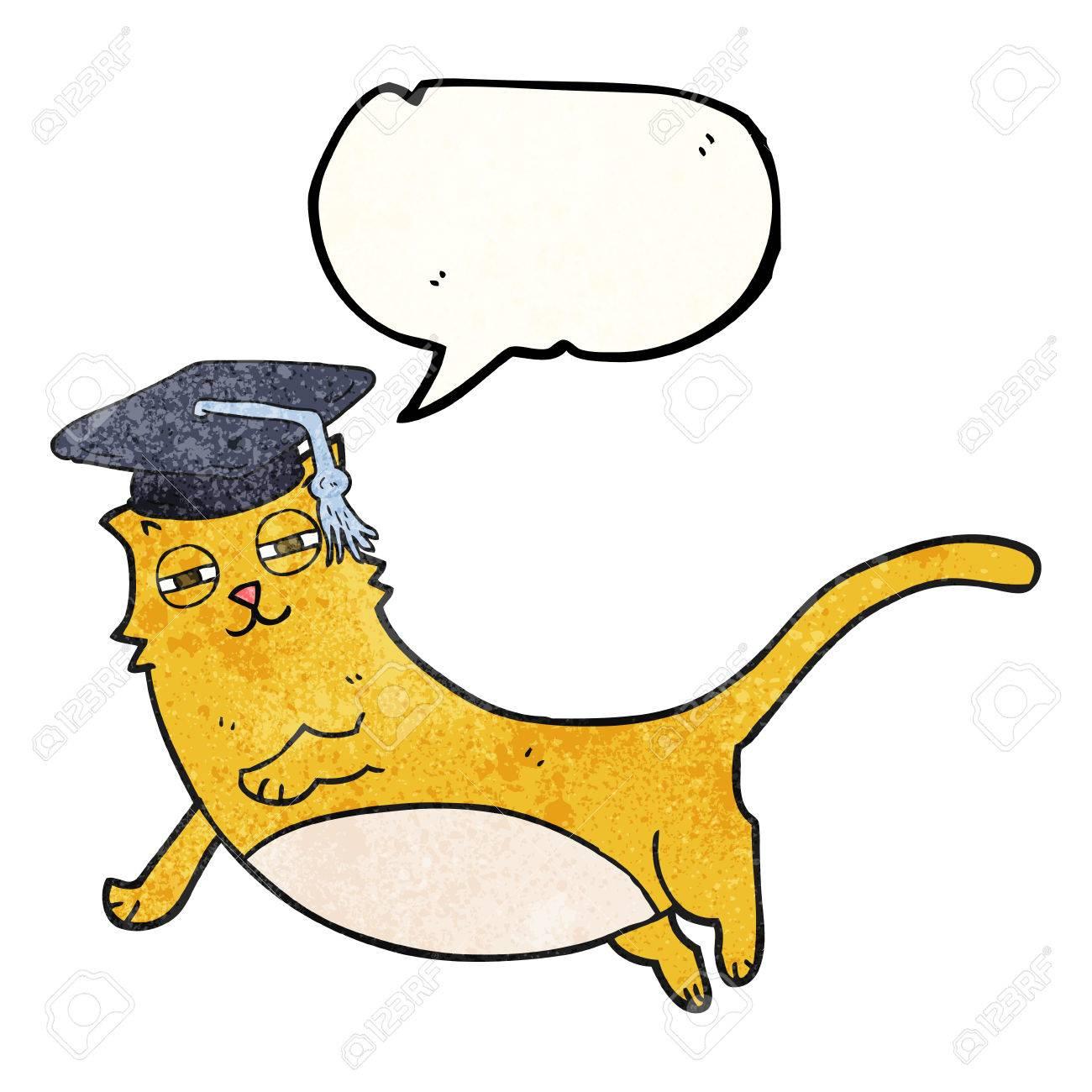 Dessin Avec La Main dessin à main levée dessin animé bulle de dessin animé chat avec un  casquette diplômé