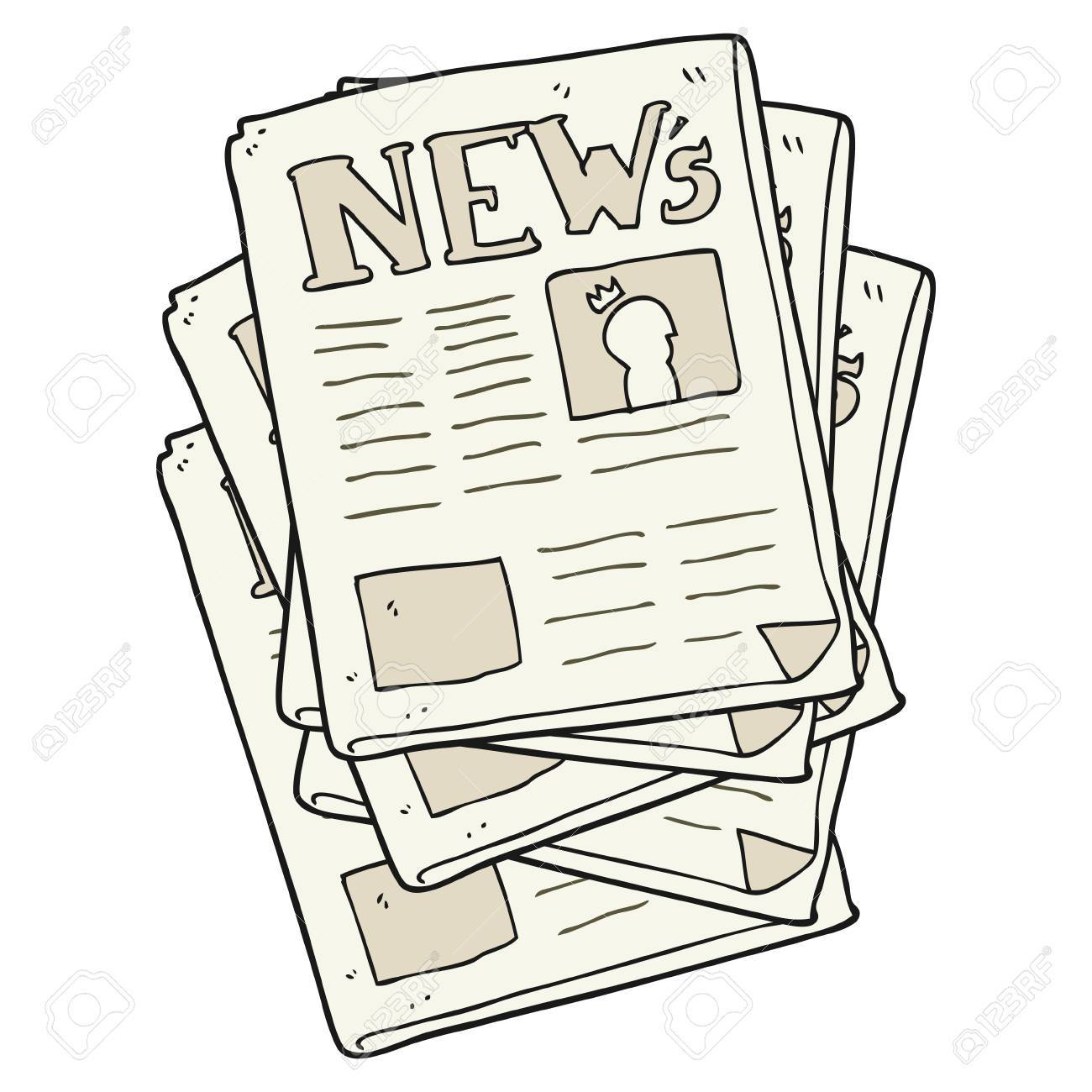 freehand drawn cartoon newspaper
