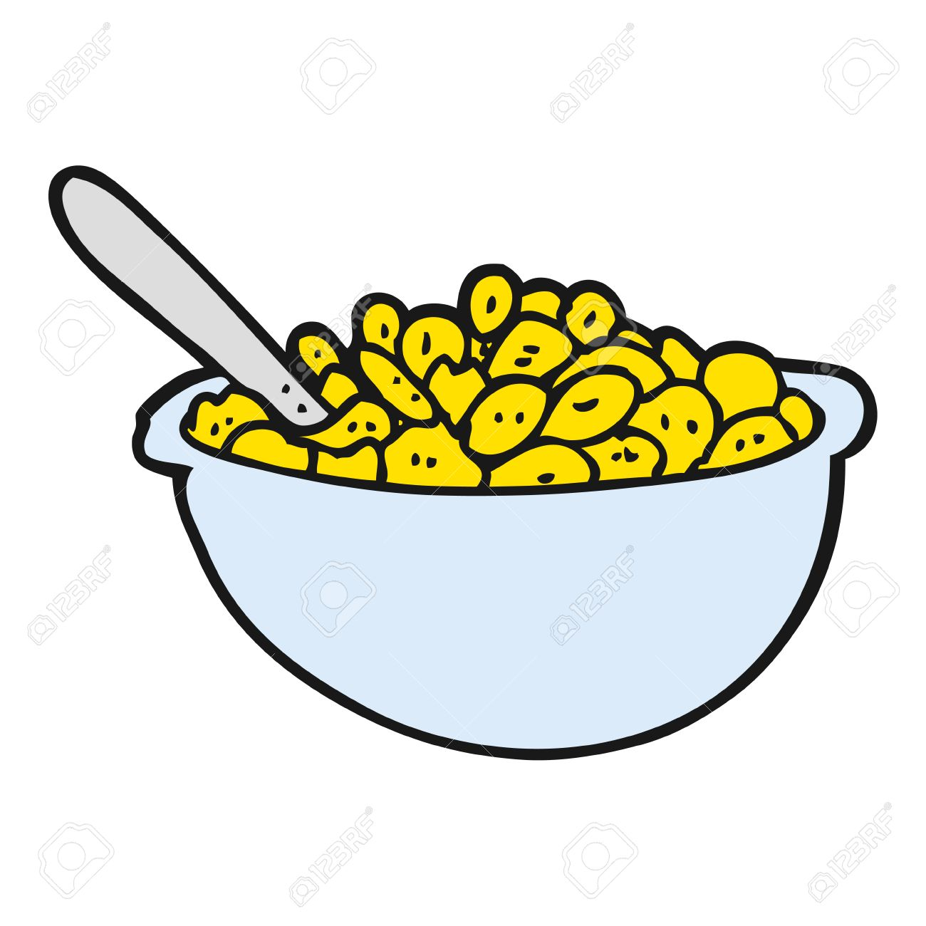freehand drawn cartoon bowl of cereal - 54066351