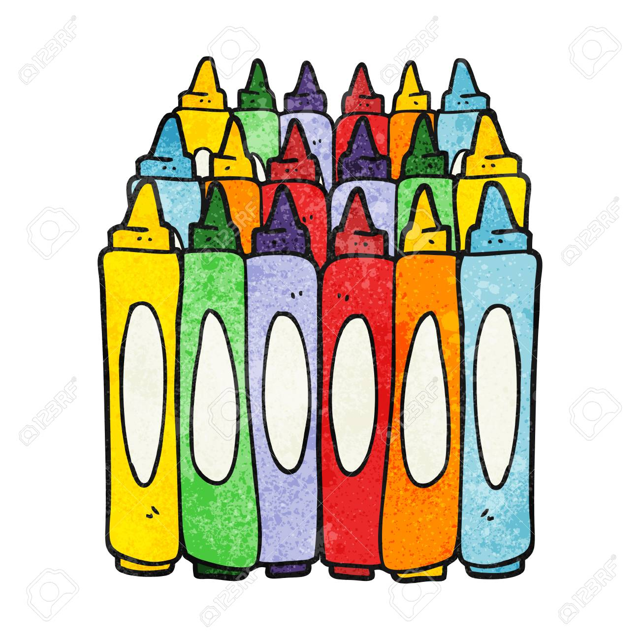Freehand Drawn Texture Cartoon Crayons Royalty Free Cliparts