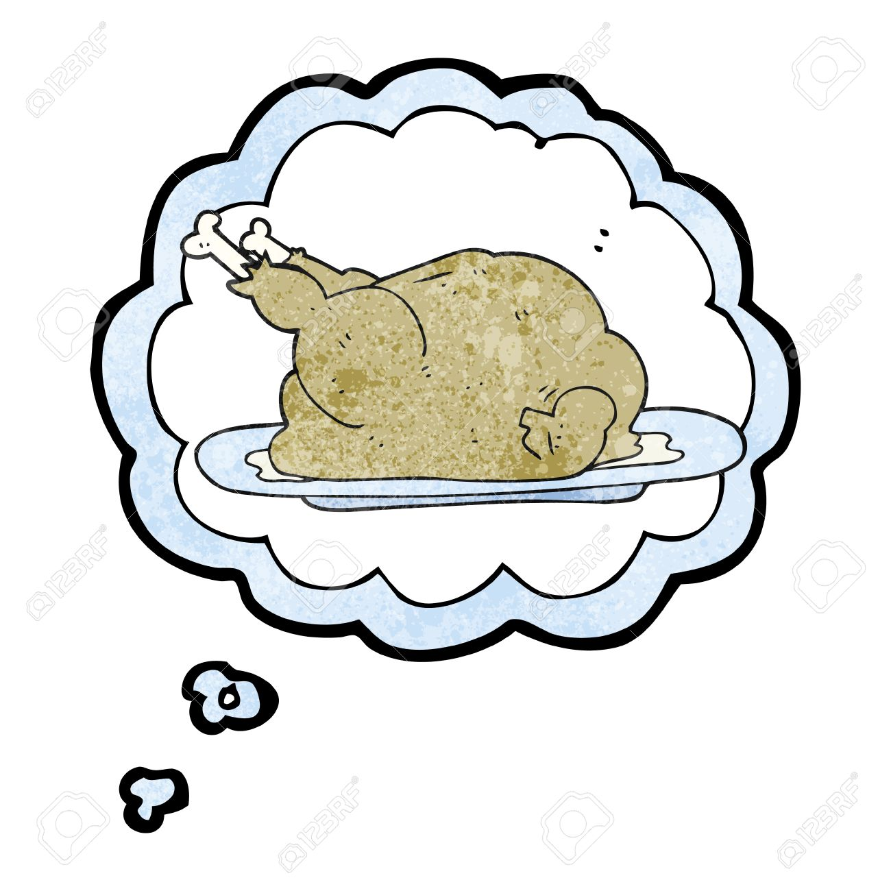 Freehand Drawn Thought Bubble Textured Cartoon Cooked Chicken Stock Vector