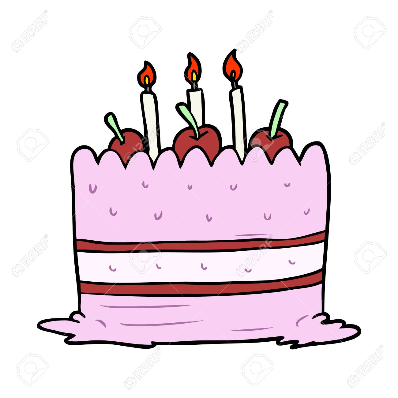 Cartoon Birthday Cake Stock Vector