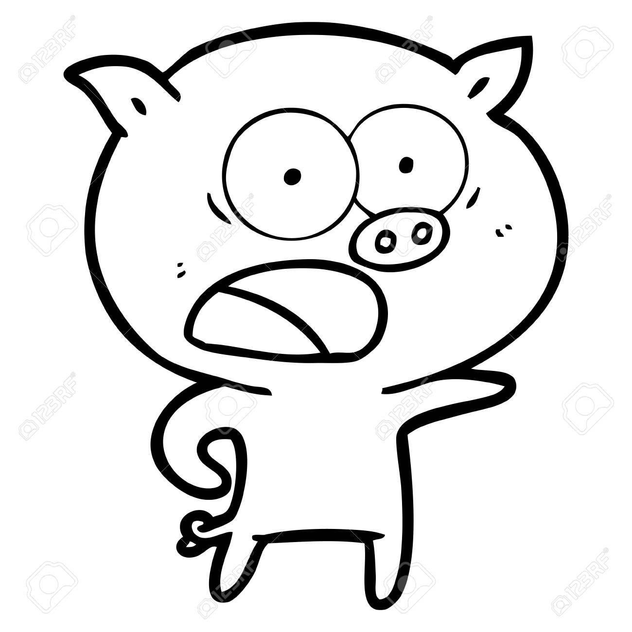 Un Cochon De Dessin Animé En Criant Sur Fond Blanc