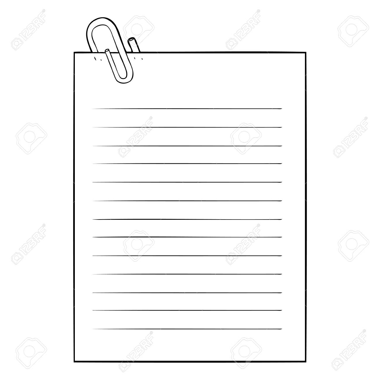 black and white cartoon lined paper with paperclip royalty free