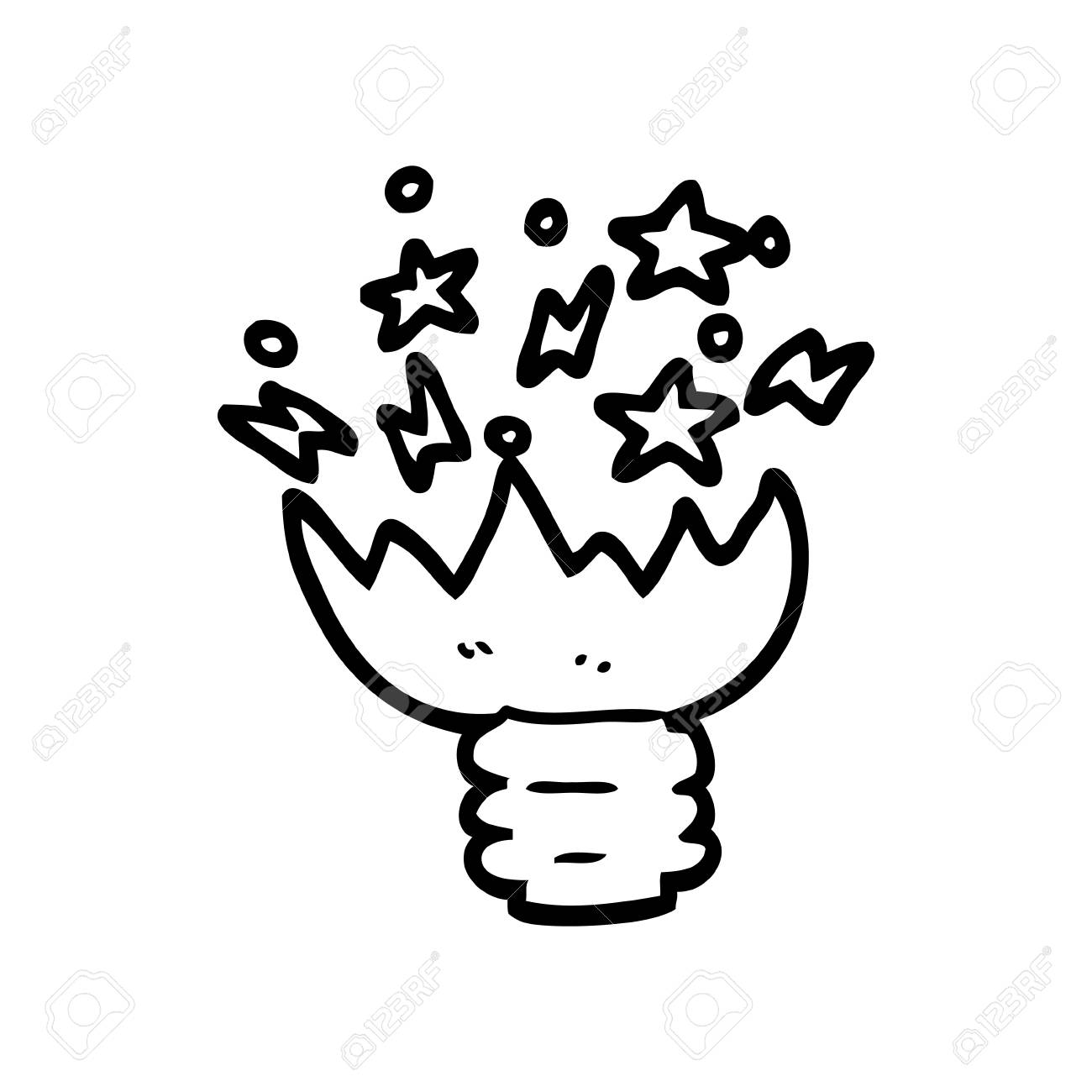 Black And White Cartoon Exploding Light Bulb Royalty Free Cliparts