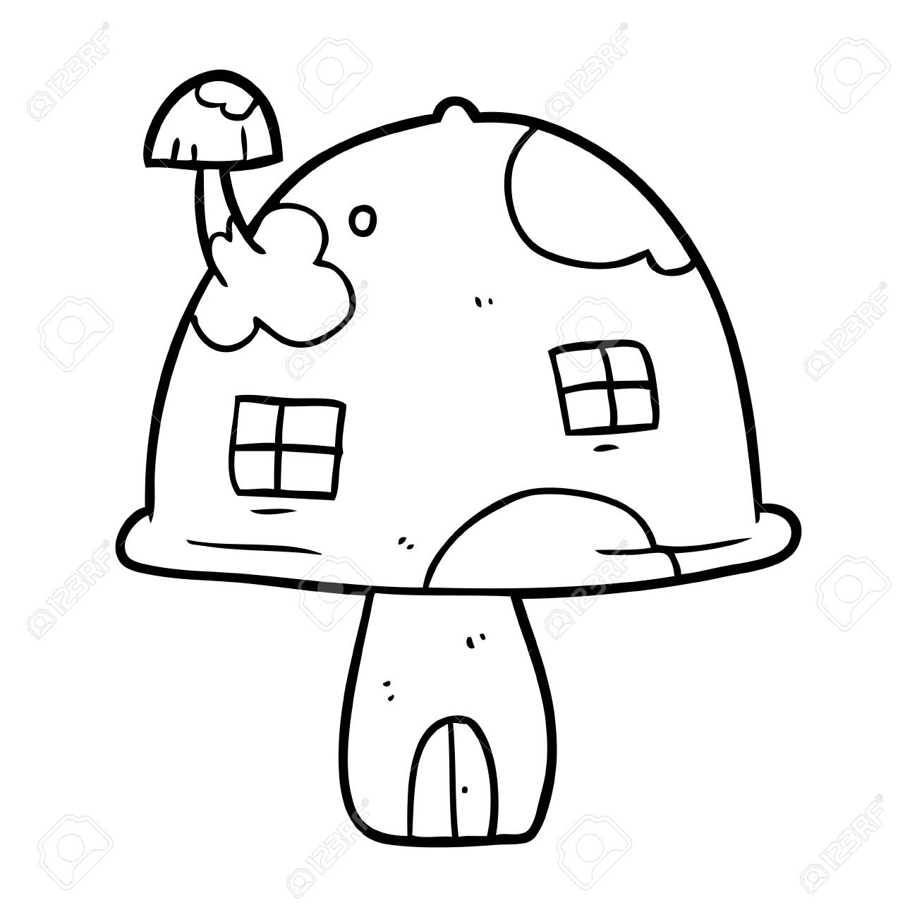 Line Drawing Of A Fairy Mushroom House Royalty Free Cliparts