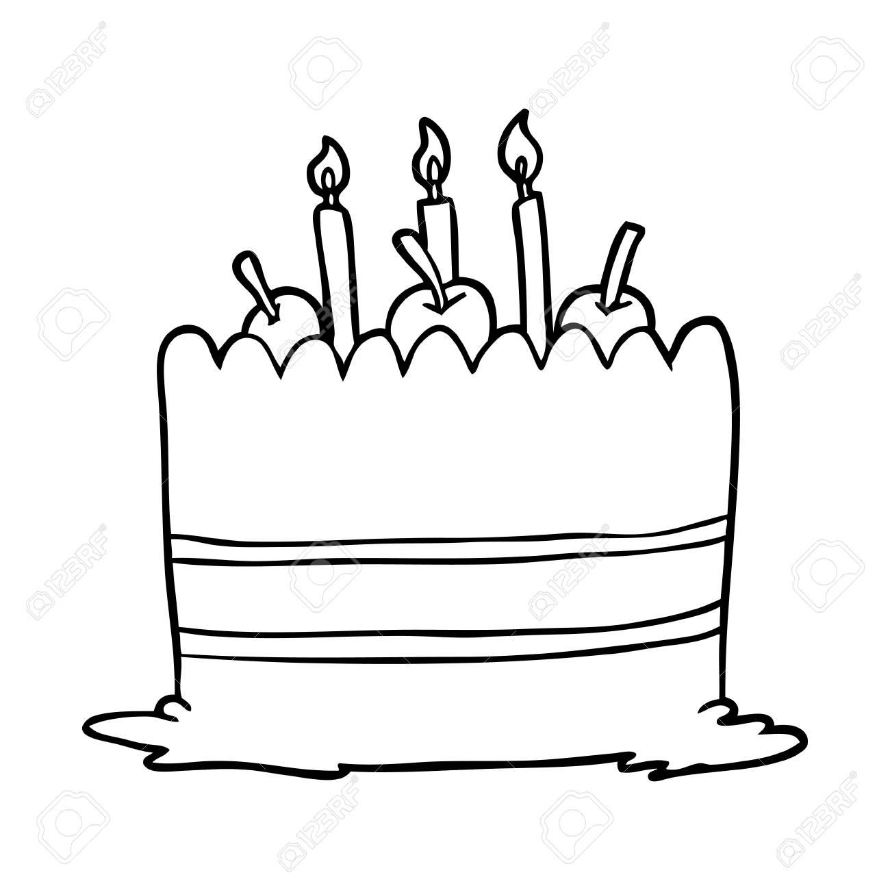 Fantastic Line Drawing Of A Birthday Cake Royalty Free Cliparts Vectors Personalised Birthday Cards Vishlily Jamesorg