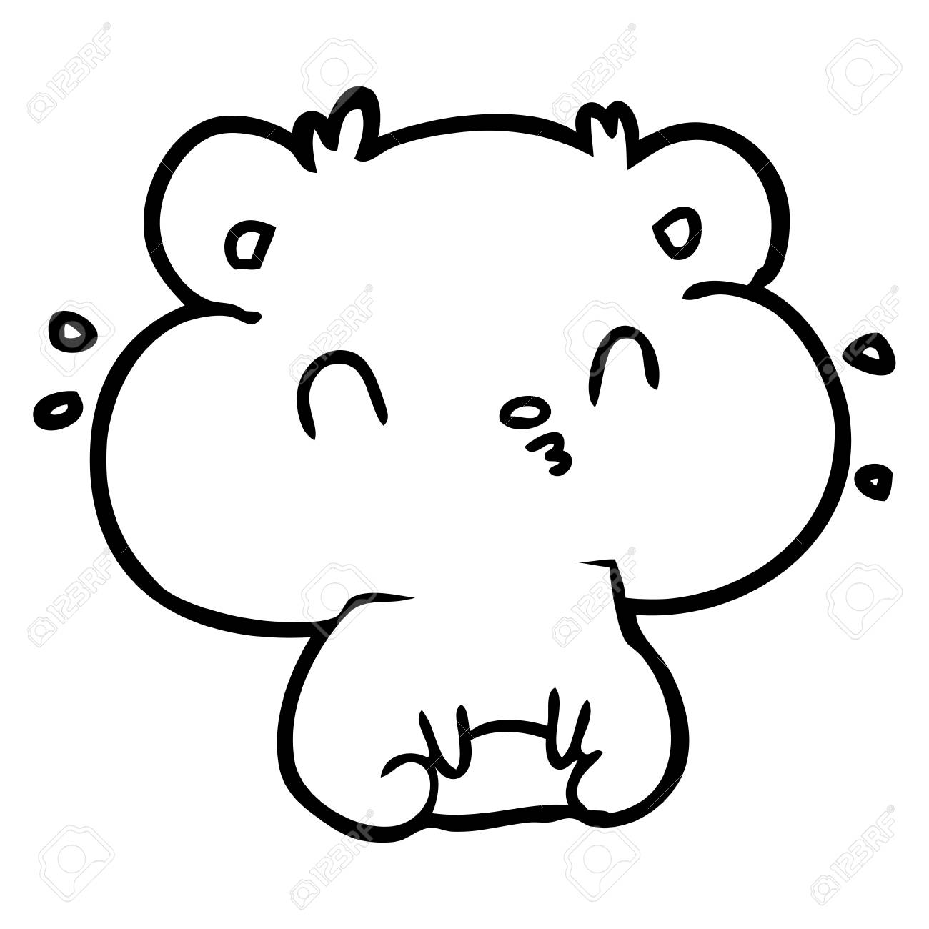 Dessin De Ligne D 39 Un Hamster Avec Trois Patins A Champagne Vecteur Clip Art Libres De Droits Vecteurs Et Illustration Image 95046481
