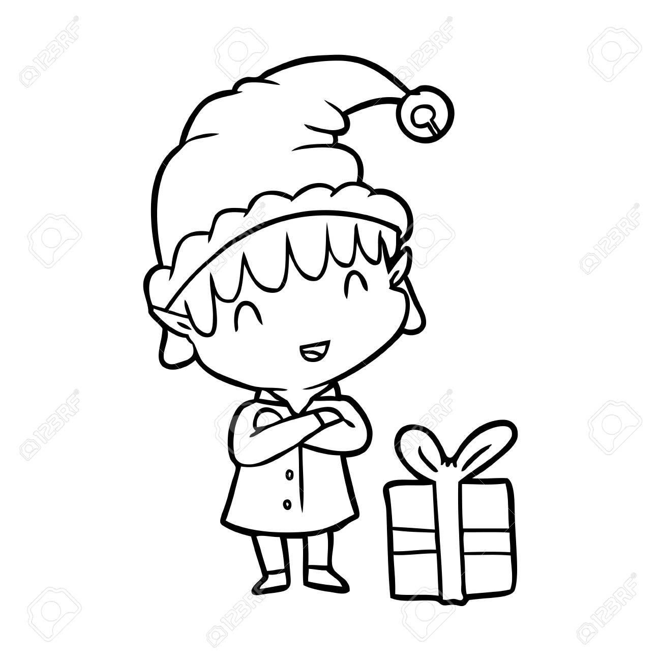 line drawing of a happy christmas elf
