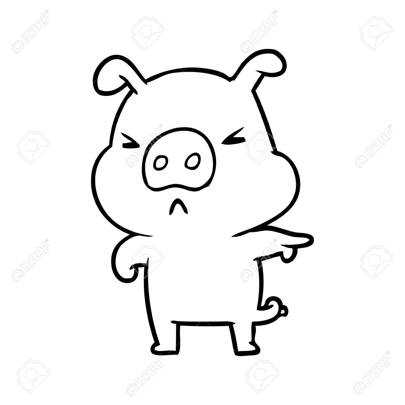 Dessin Au Trait D Un Cochon En Colère Pointant