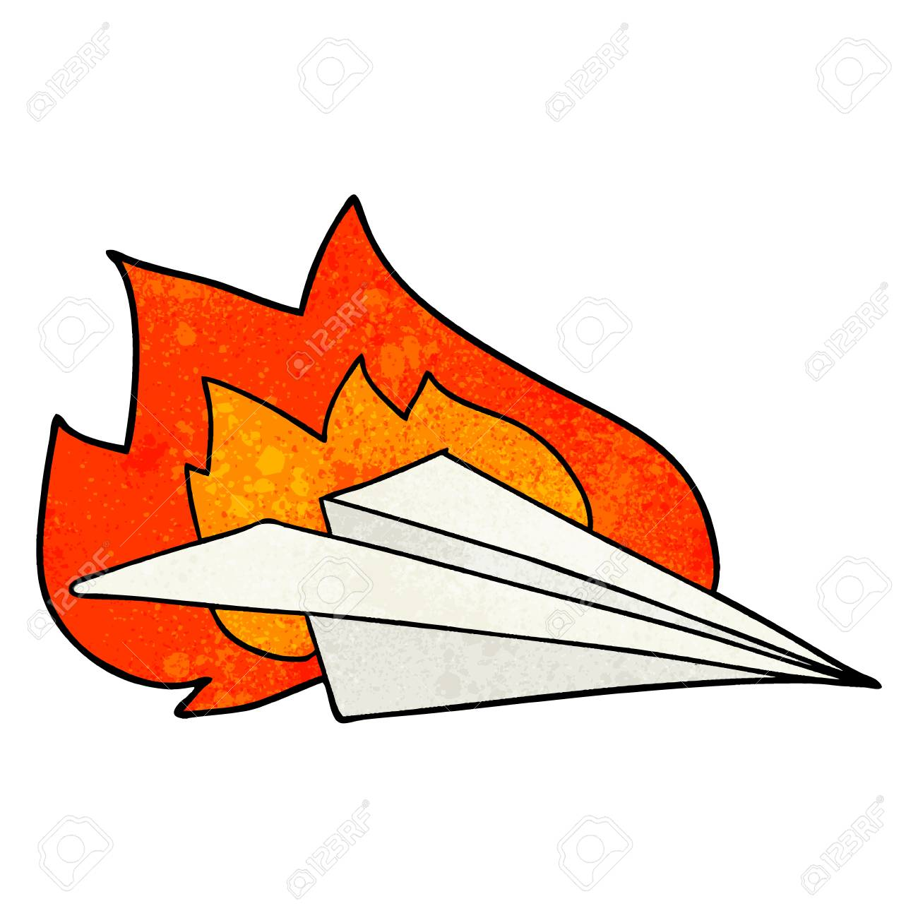 Cartoon Burning Paper Airplane Royalty Free Cliparts Vectors And