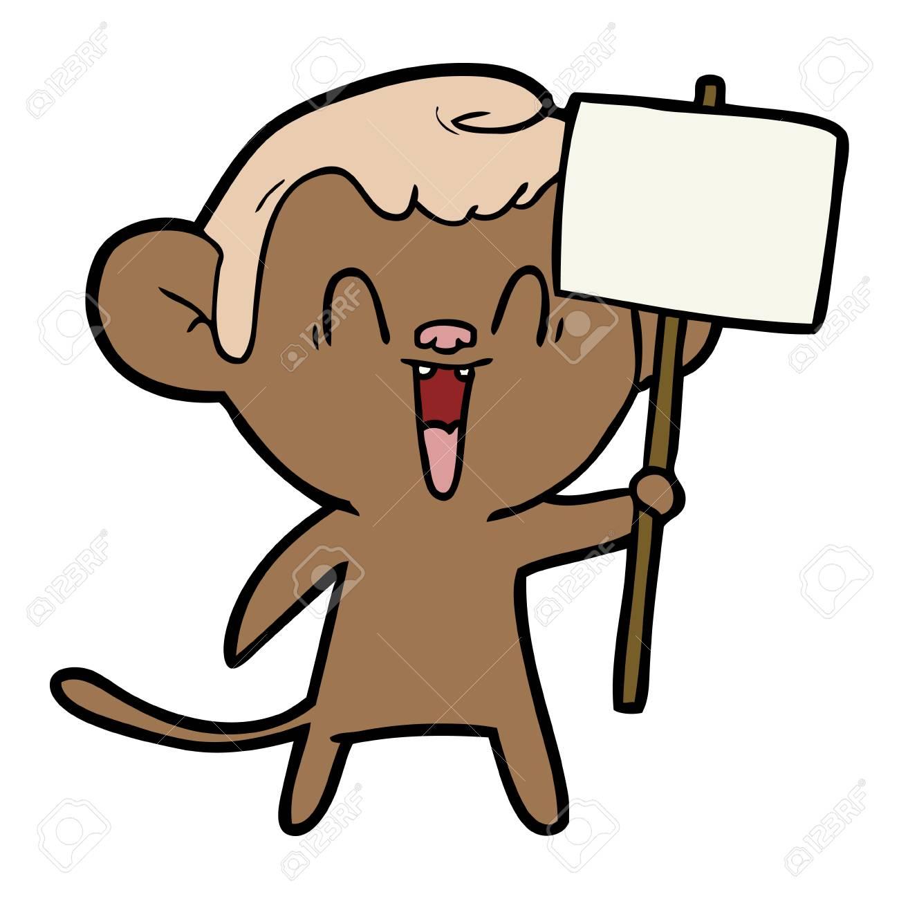 cartoon laughing monkey ロイヤリティフリークリップアート ベクター