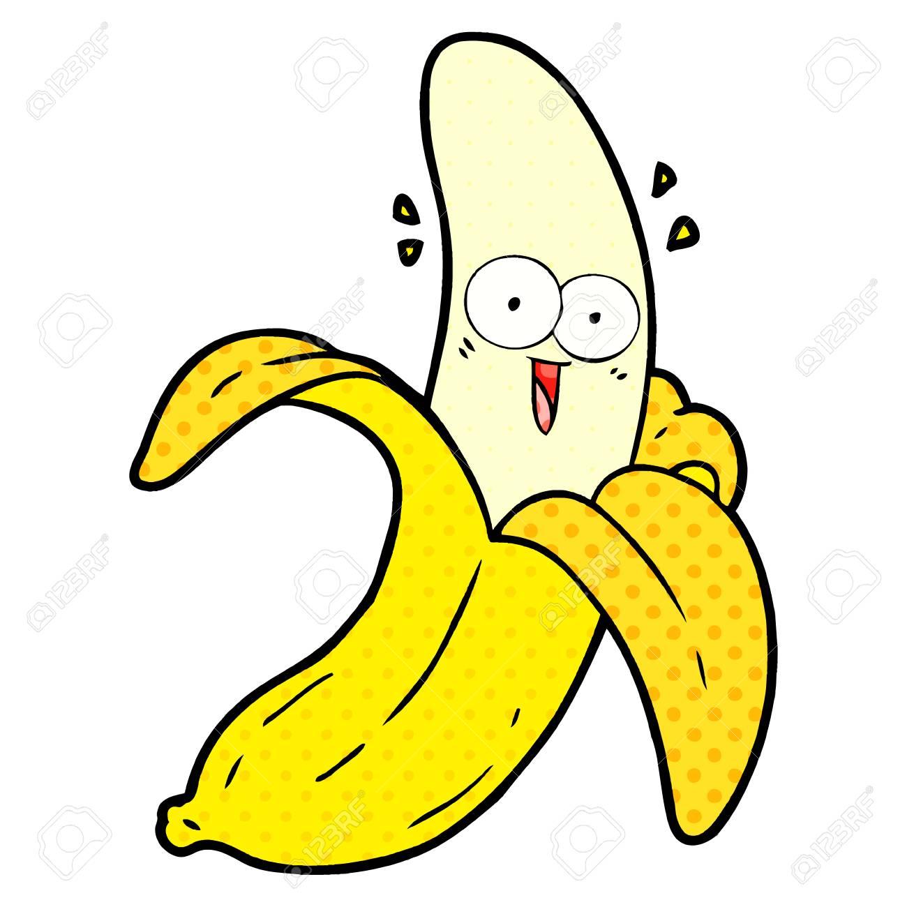 cartoon crazy happy banana - 95633502