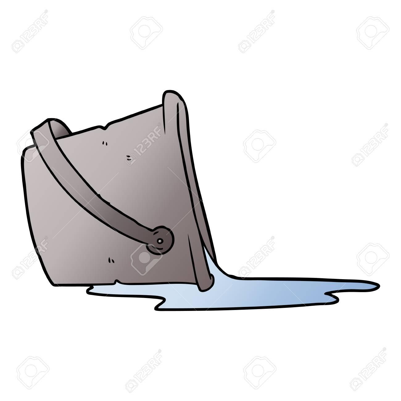 A cartoon spilled bucket of water - 95609065