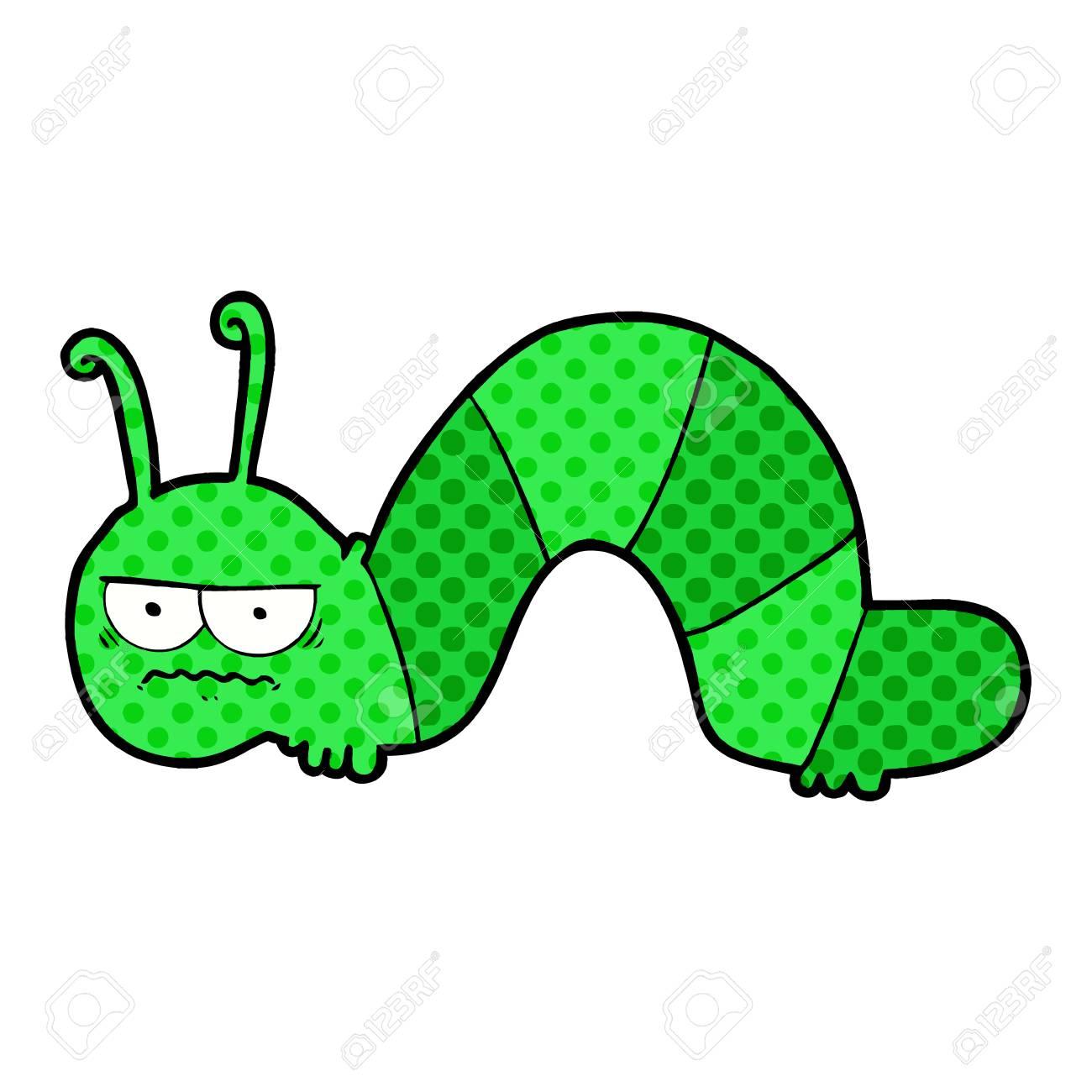 Cartoon Grumpy Caterpillar Illustration On White Background