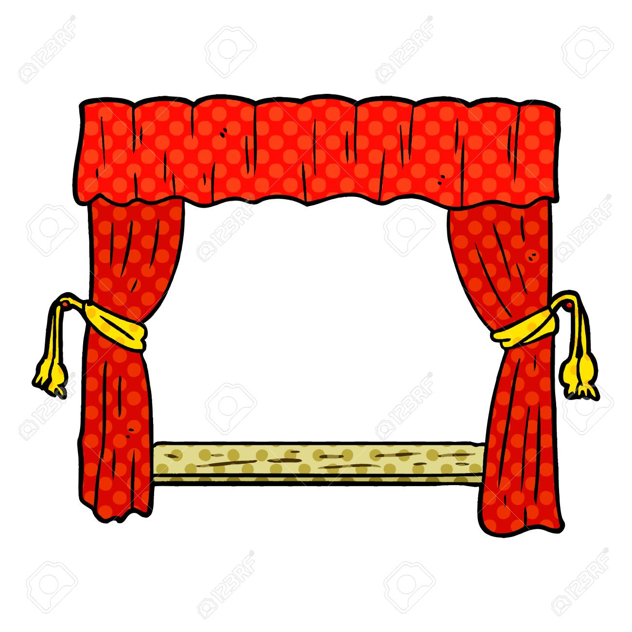 Cartoon Curtains Opening Onto Stage Stock Vector
