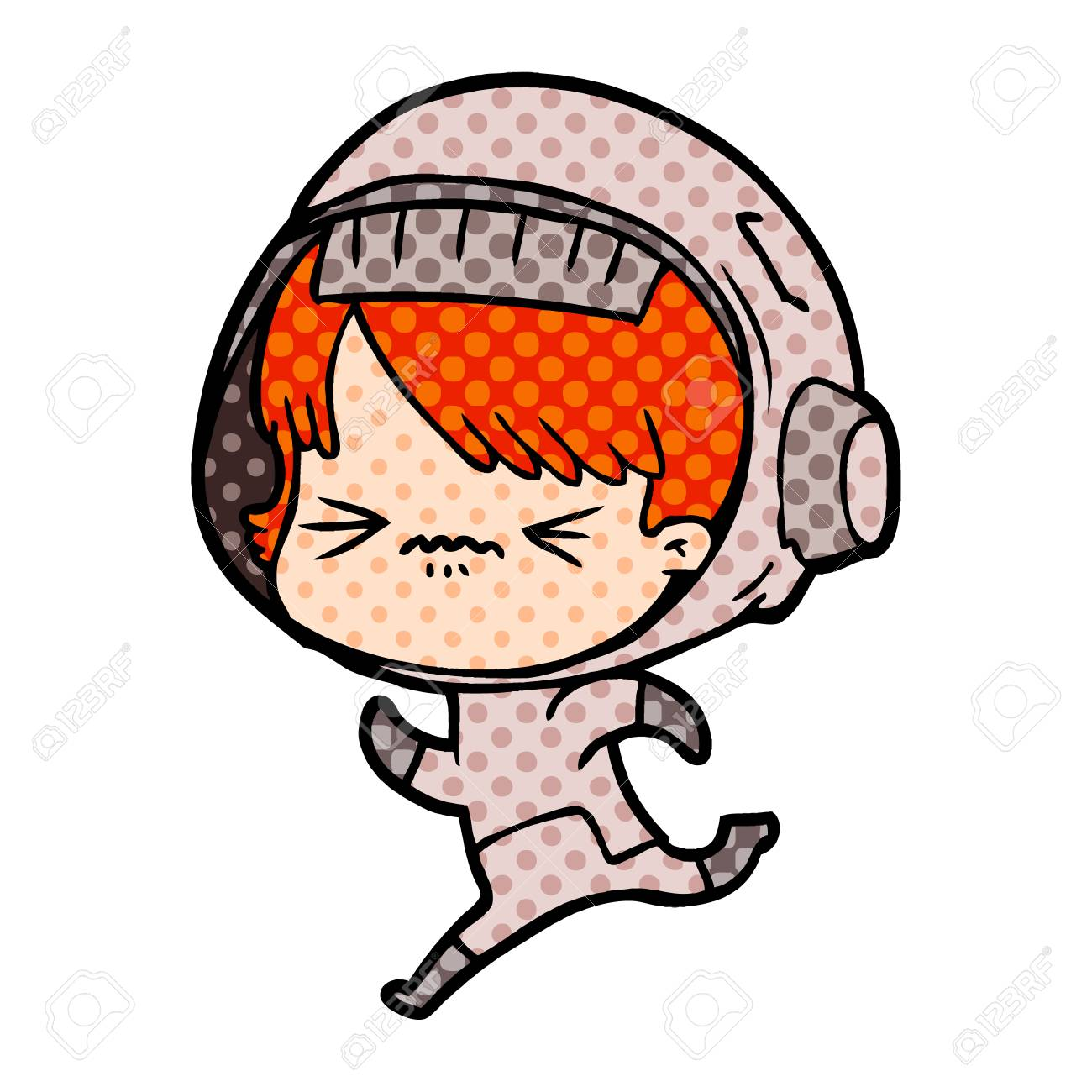 Cartoon Space Girl Running Royalty Free Cliparts Vectors And