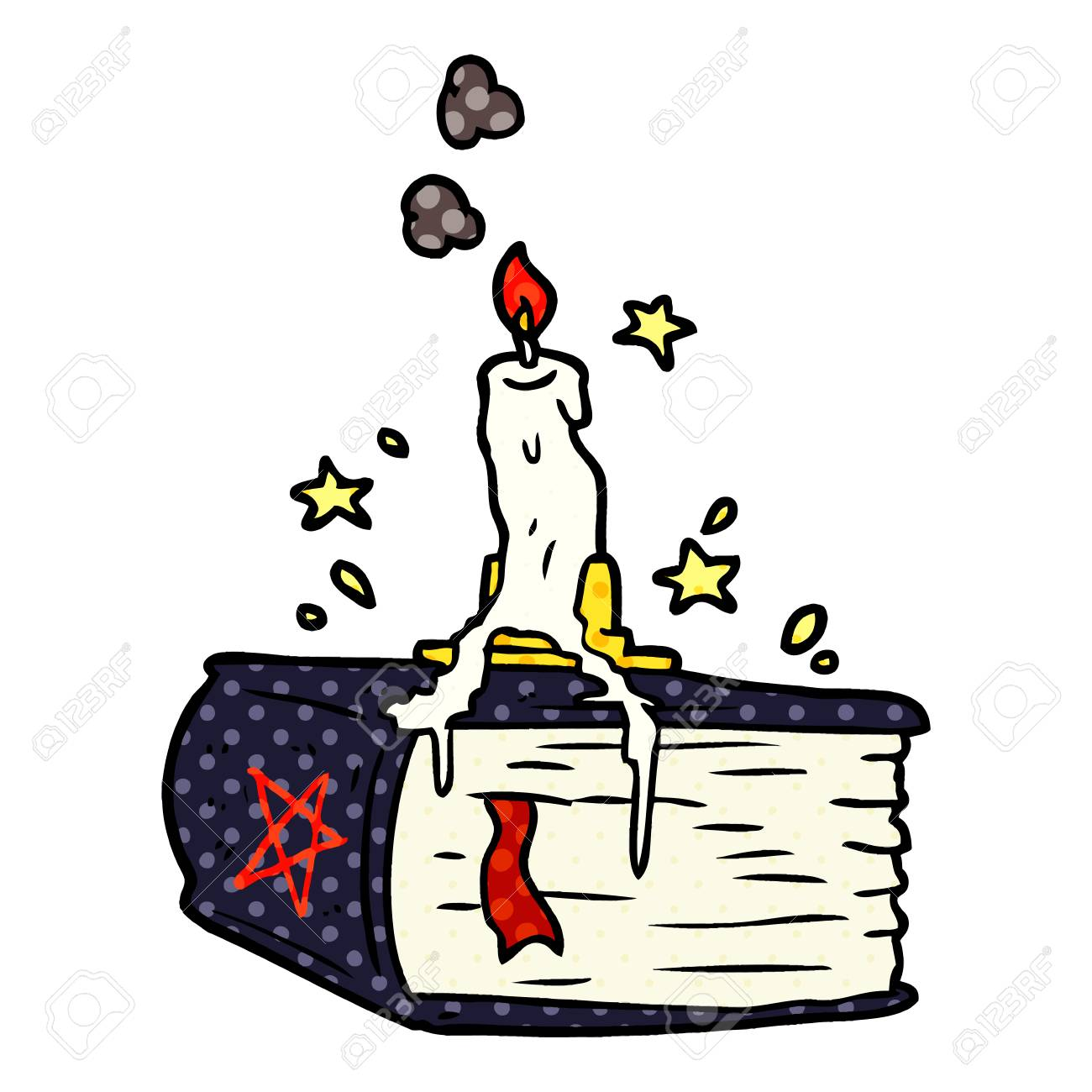 cartoon spooky spellbook with dribbling candle royalty free cliparts rh 123rf com Scary Halloween Graphics Zombie Clip Art