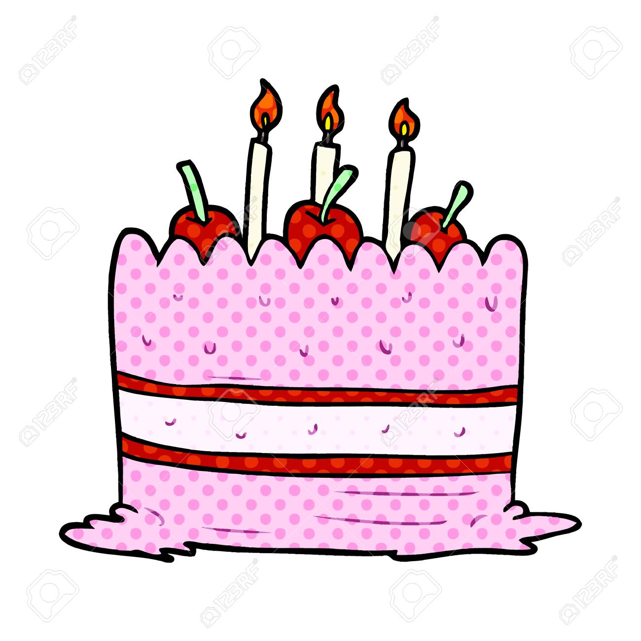 A Cartoon Birthday Cake Isolated On White Background Stock Vector