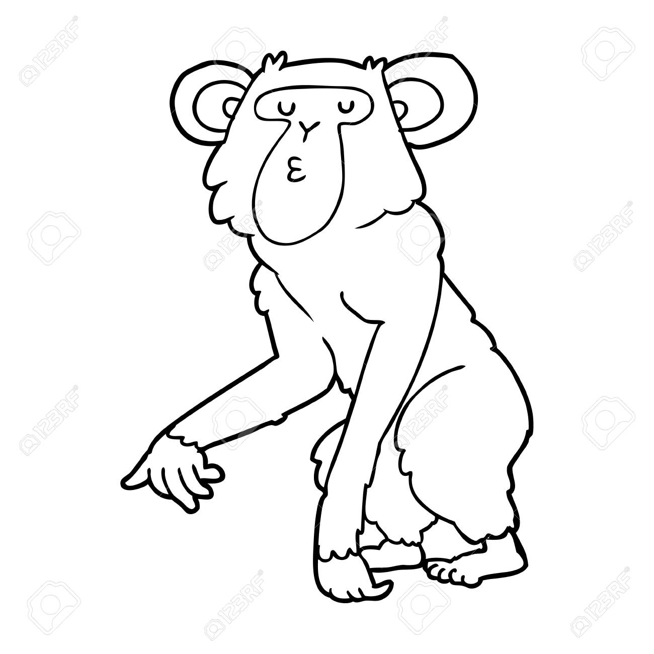 hand drawn cartoon chimpanzee royalty free cliparts vectors and