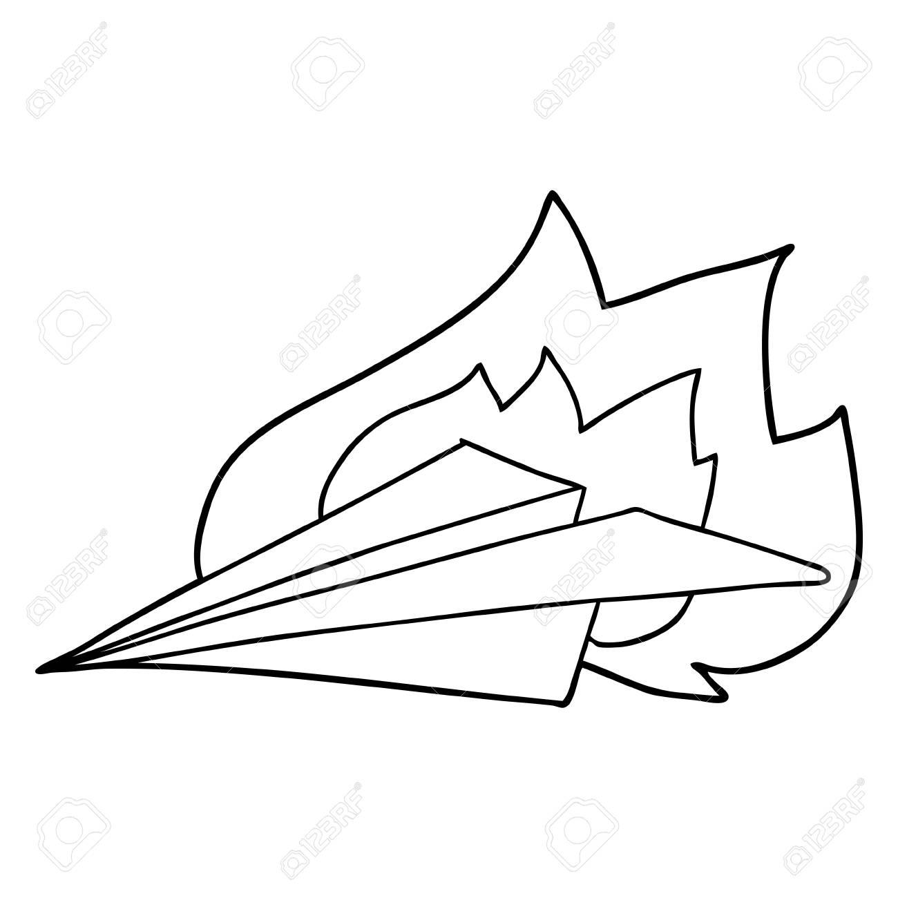 Cartoon Burning Paper Airplane Vector Illustration Royalty Free