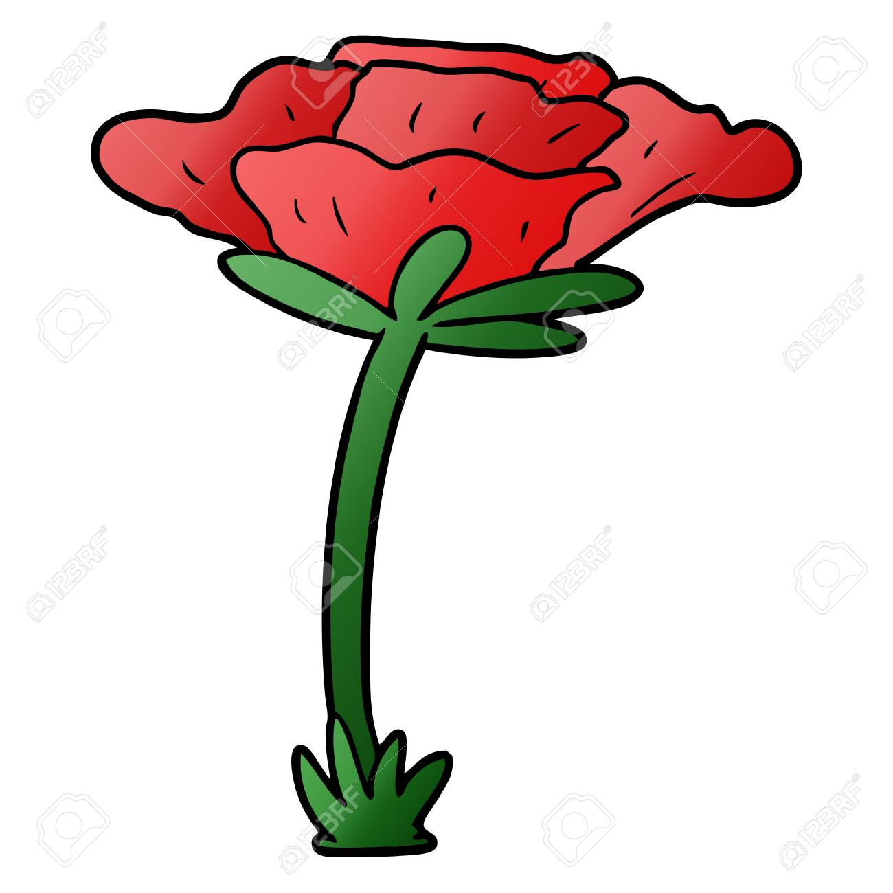 Poppy Flower Plant Cartoon Illustration Royalty Free Cliparts