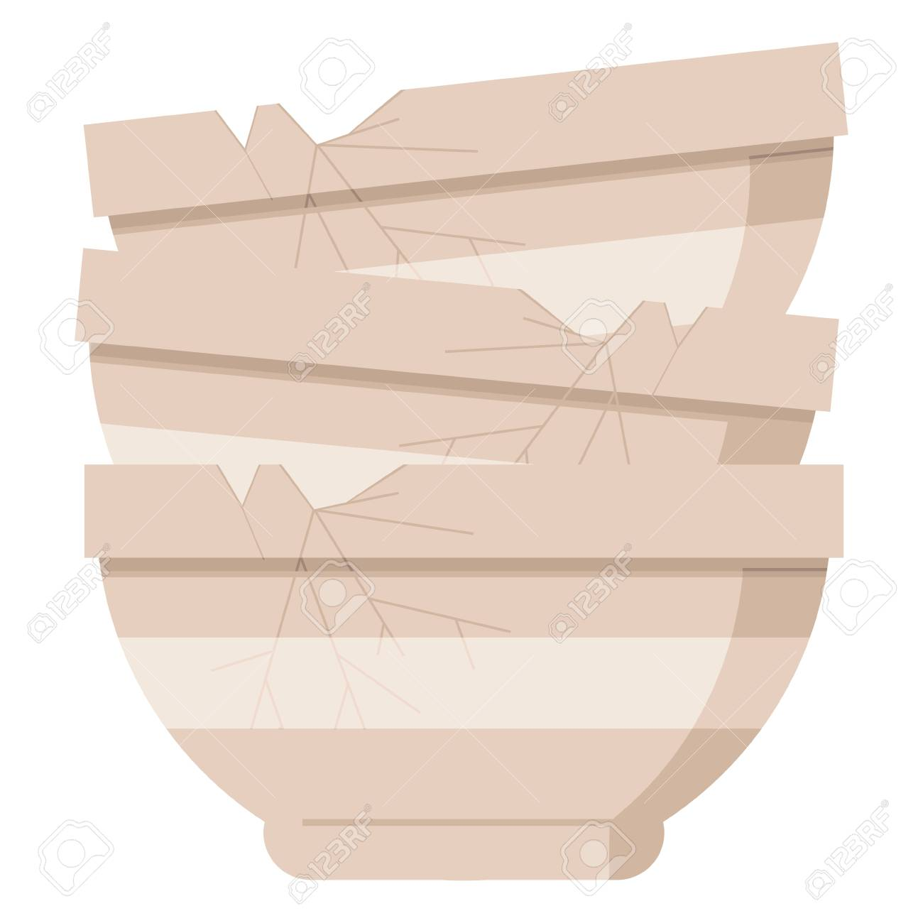 stack of cracked old bowls graphic vector illustration icon - 110422838