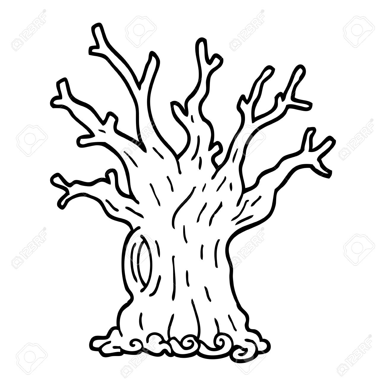 Black And White Cartoon Tree Royalty Free Cliparts, Vectors, And ...